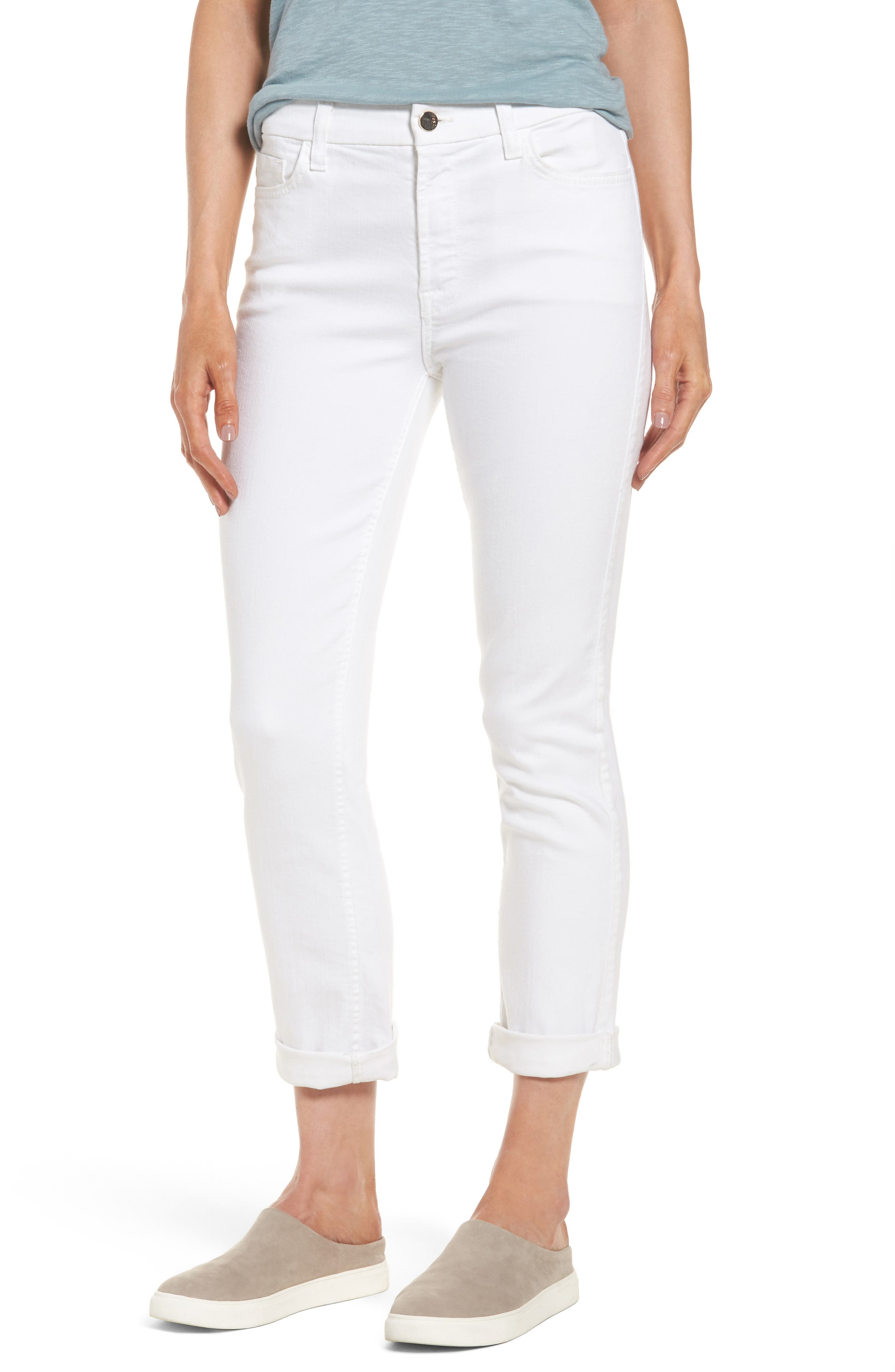 JEN7 BY 7 FOR ALL MANKIND, Stretch Straight Leg Crop Jeans, Main thumbnail 1, color, WHITE DENIM