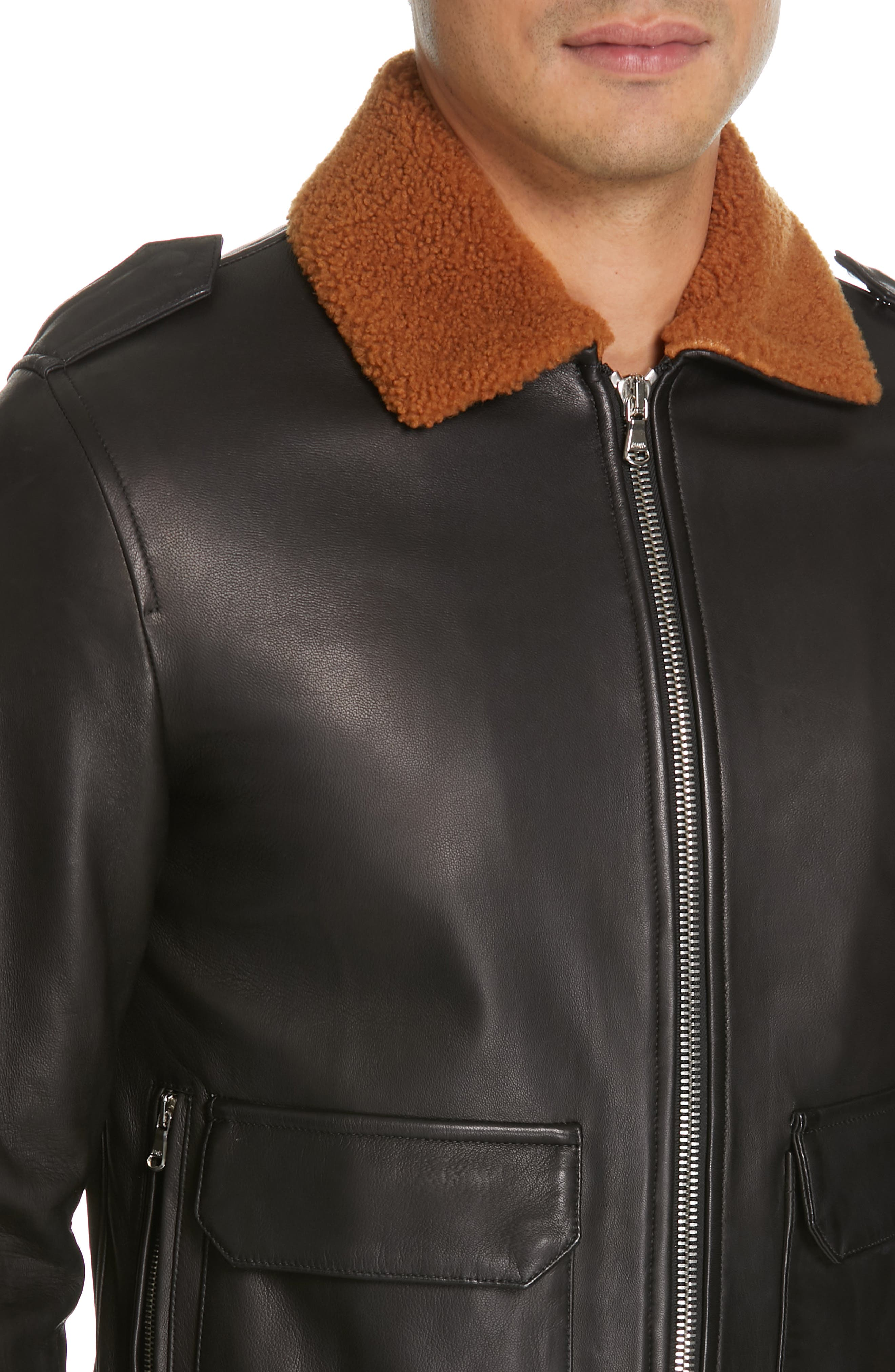 EIDOS, Genuine Shearling Collar Leather Bomber Jacket, Alternate thumbnail 4, color, BLACK