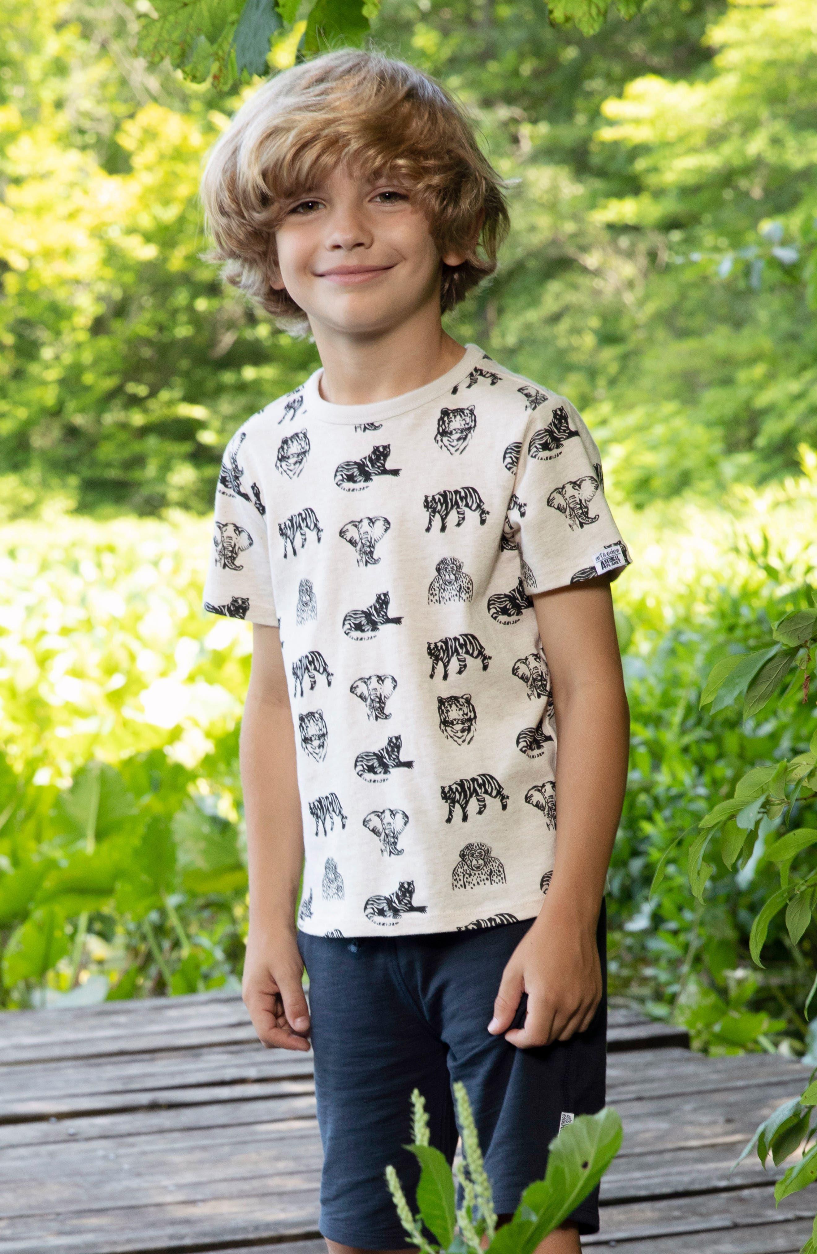 ART & EDEN, x Animal Planet Adam Organic Cotton T-Shirt, Alternate thumbnail 4, color, JUNGLE PATTERN