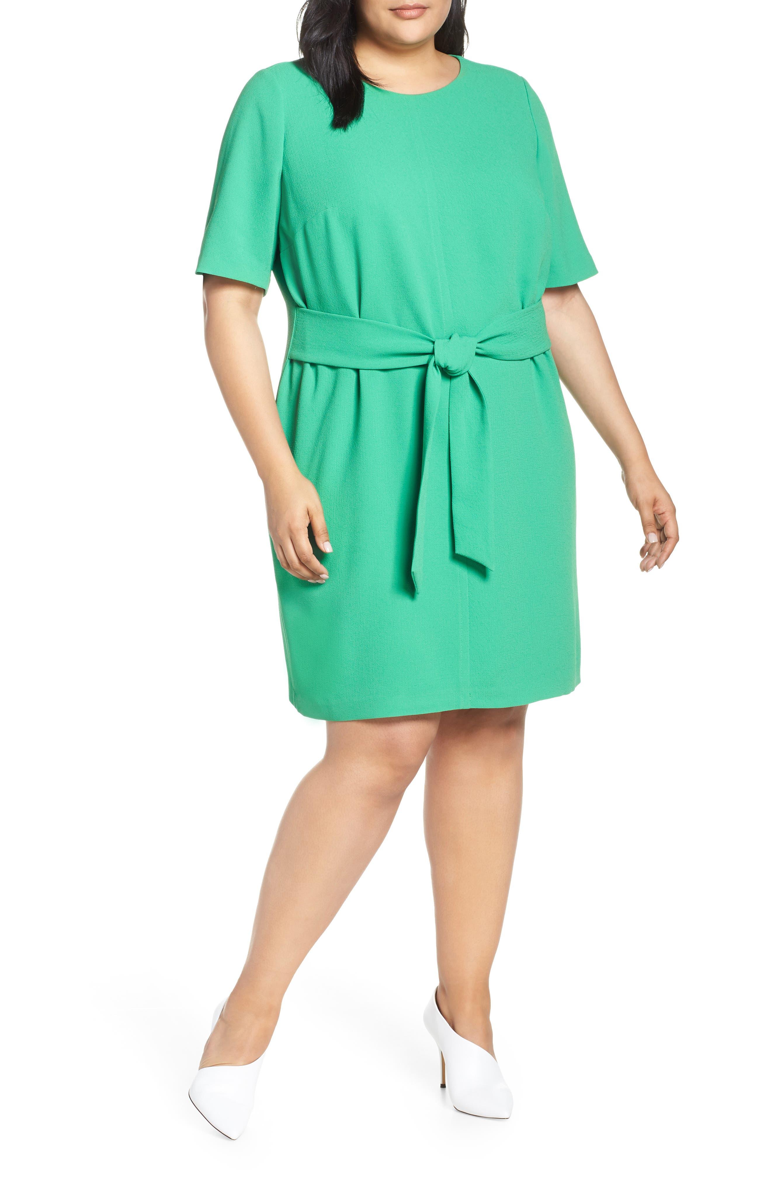 Plus Size Vince Camuto Belt Parisian Crepe Dress, Green