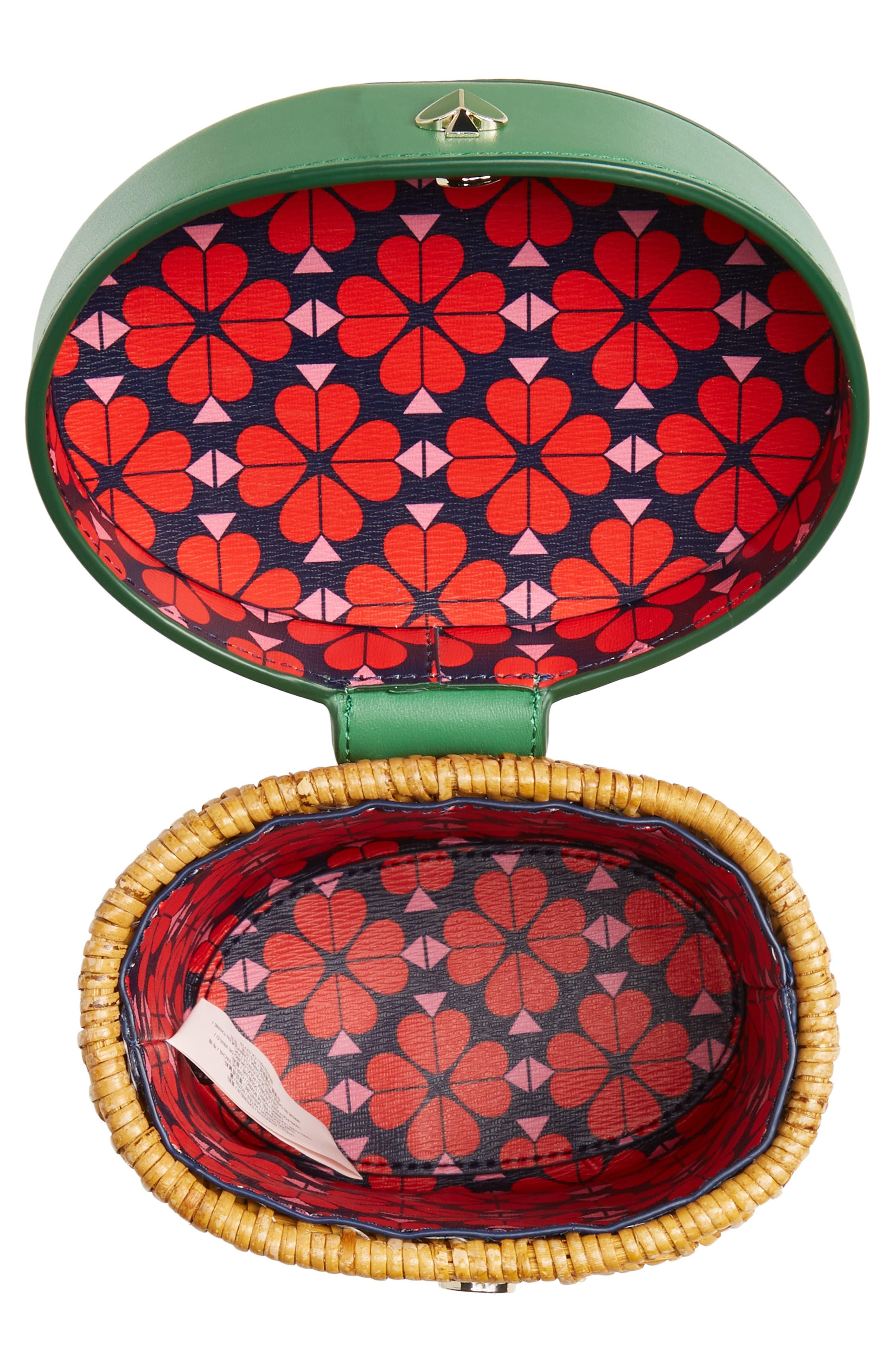 KATE SPADE NEW YORK, mini rose rattan bucket bag, Alternate thumbnail 4, color, GREEN BEAN
