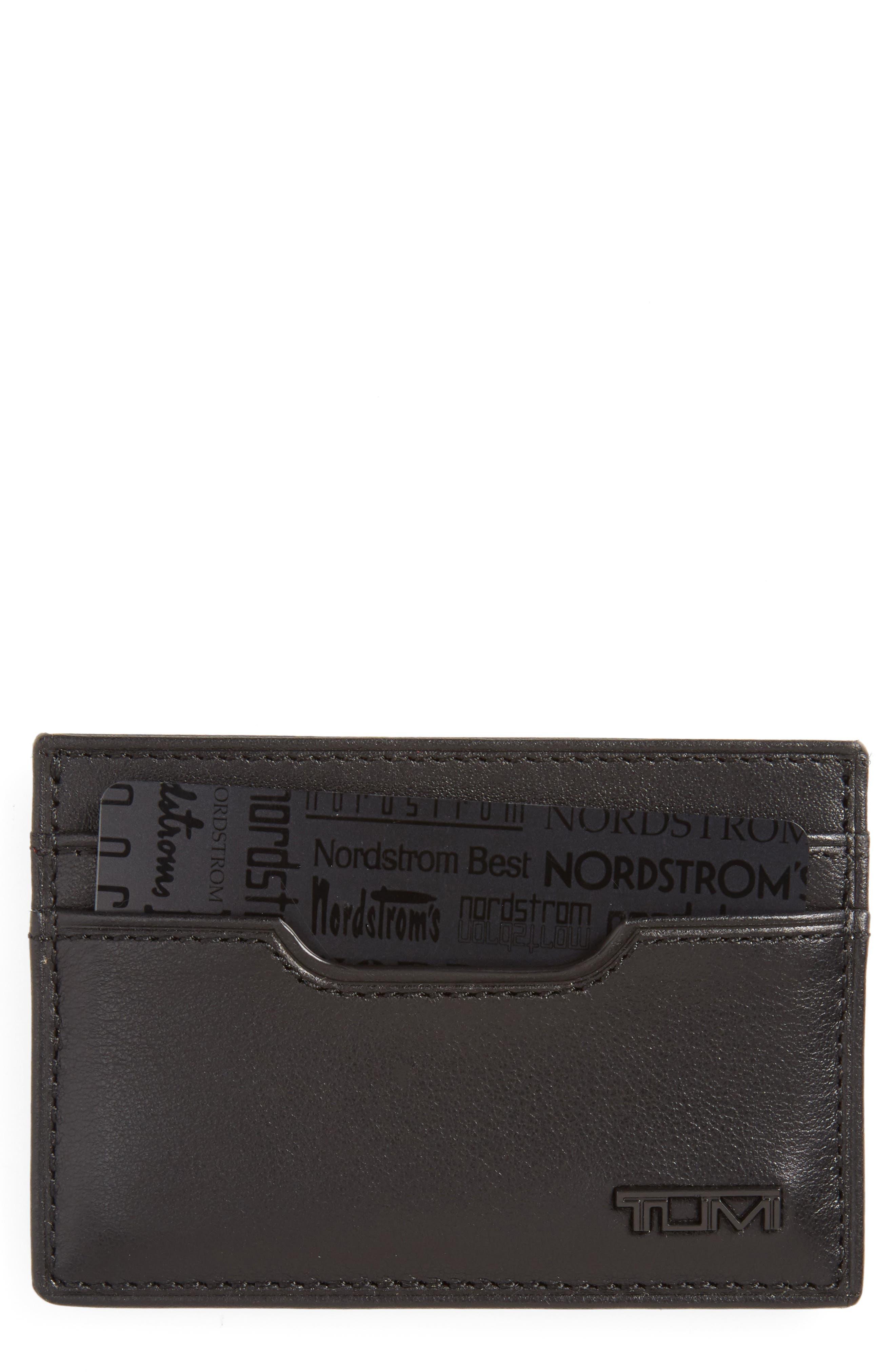 TUMI, Delta - ID Lock<sup>™</sup> Shielded Slim Card Case & ID Wallet, Main thumbnail 1, color, BLACK