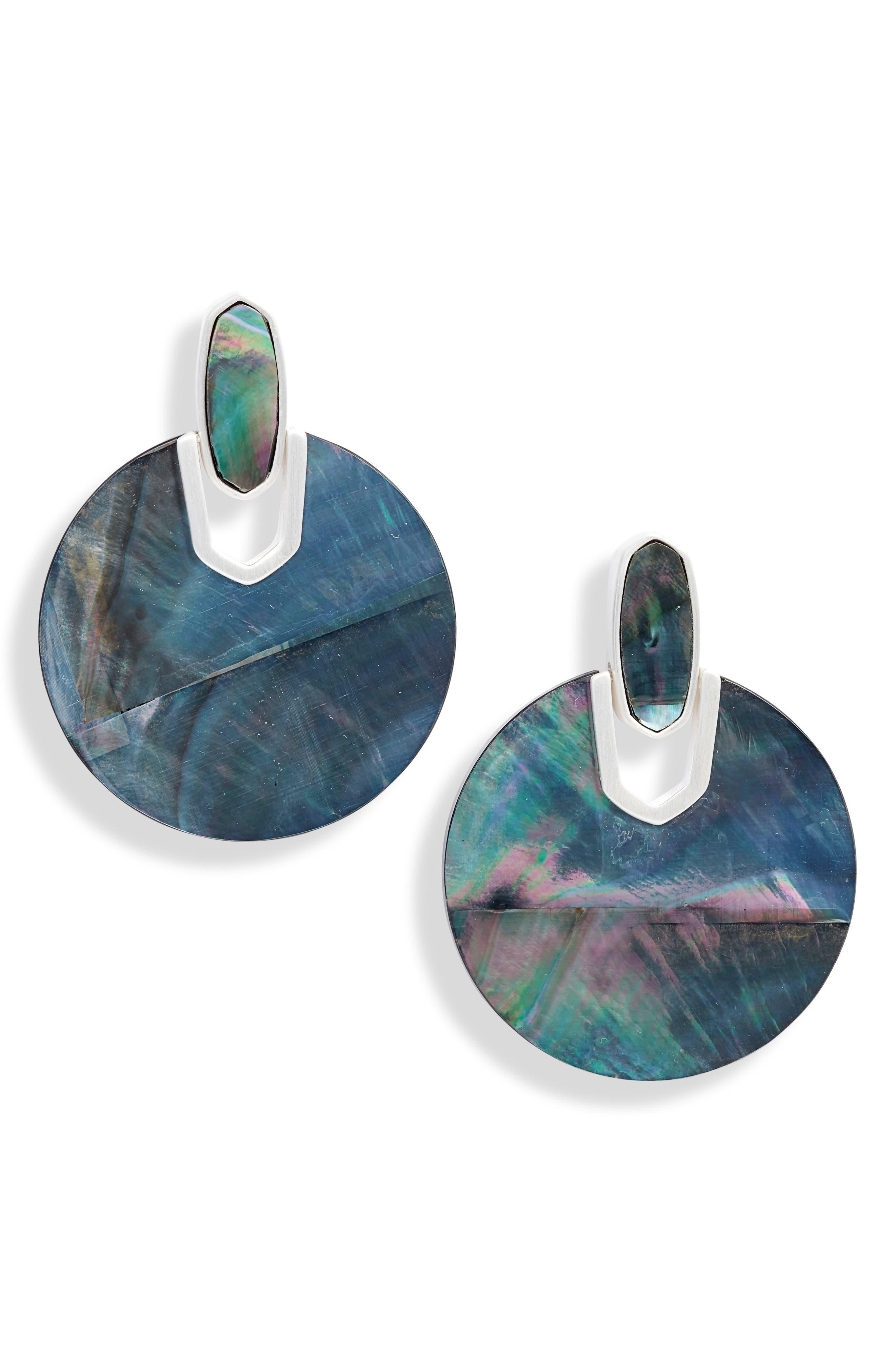 KENDRA SCOTT Didi Drop Earrings, Main, color, BRIGHT SILVER/ BLACK MOP