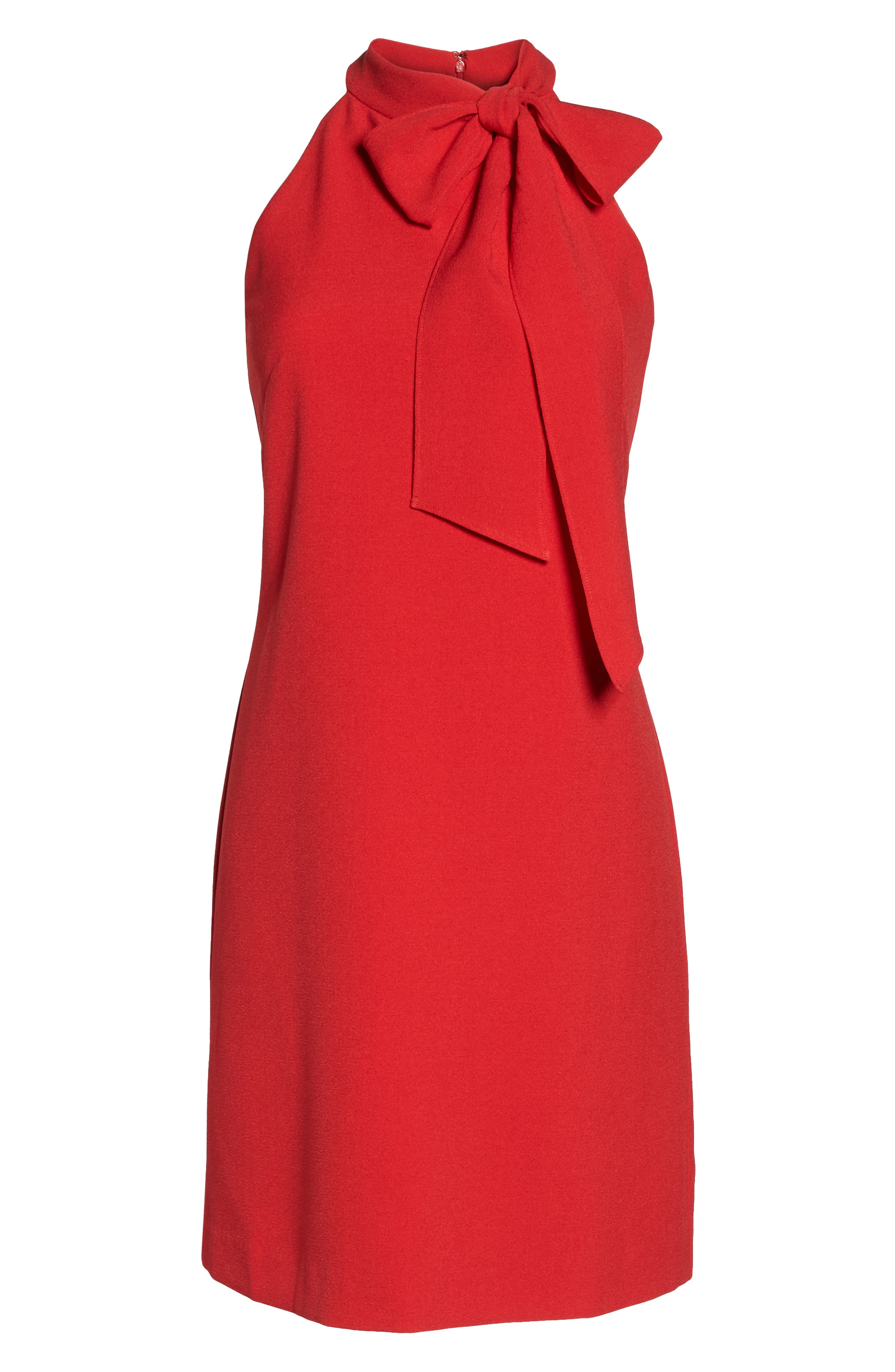 VINCE CAMUTO, Halter Tie Neck A-Line Dress, Alternate thumbnail 8, color, RED