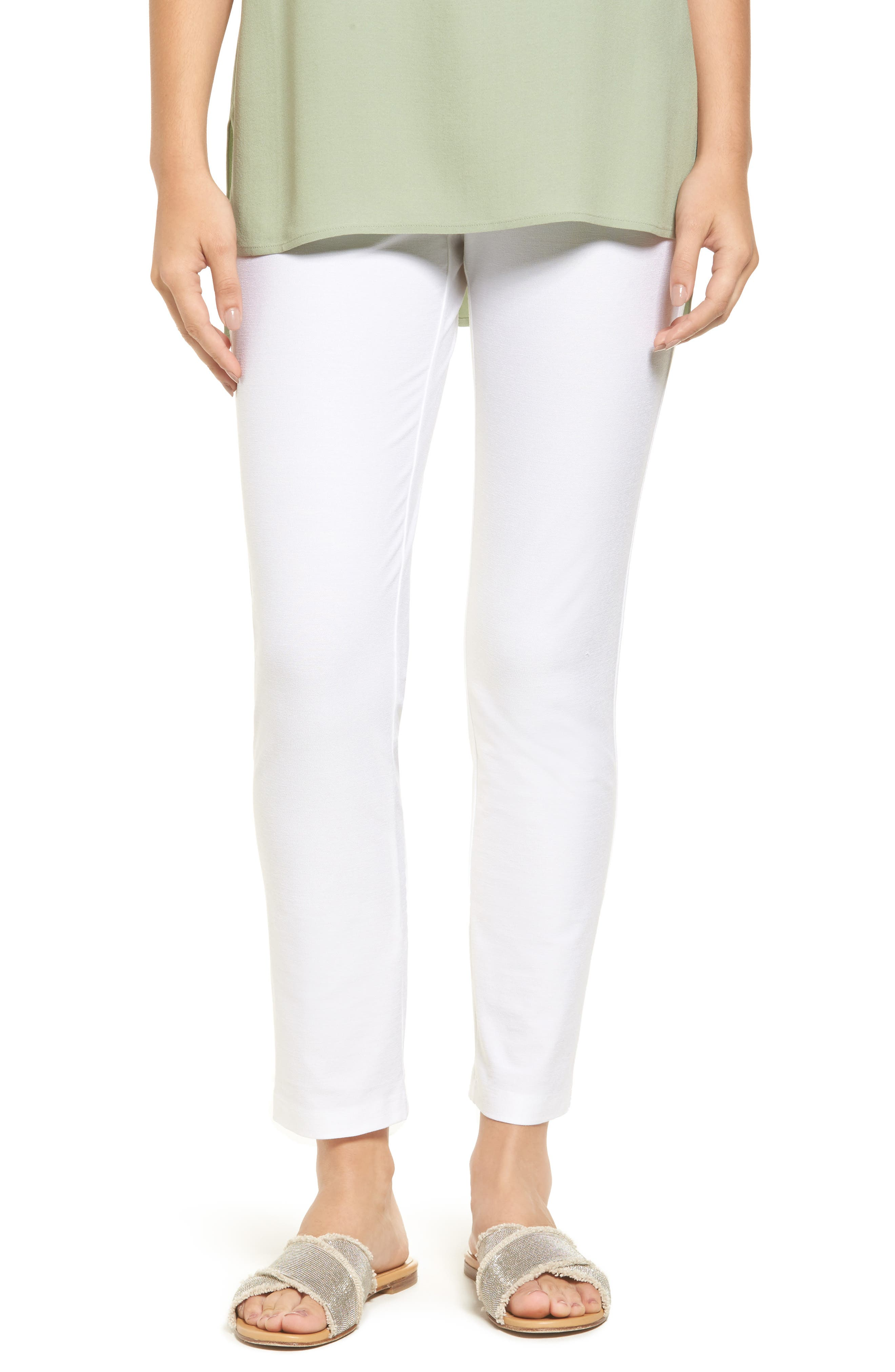 EILEEN FISHER Stretch Crepe Slim Ankle Pants, Main, color, WHITE