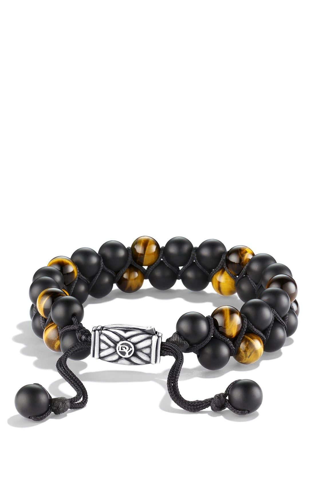 DAVID YURMAN, 'Spiritual Beads' Two-Row Stone Bracelet, Main thumbnail 1, color, BLACK ONYX