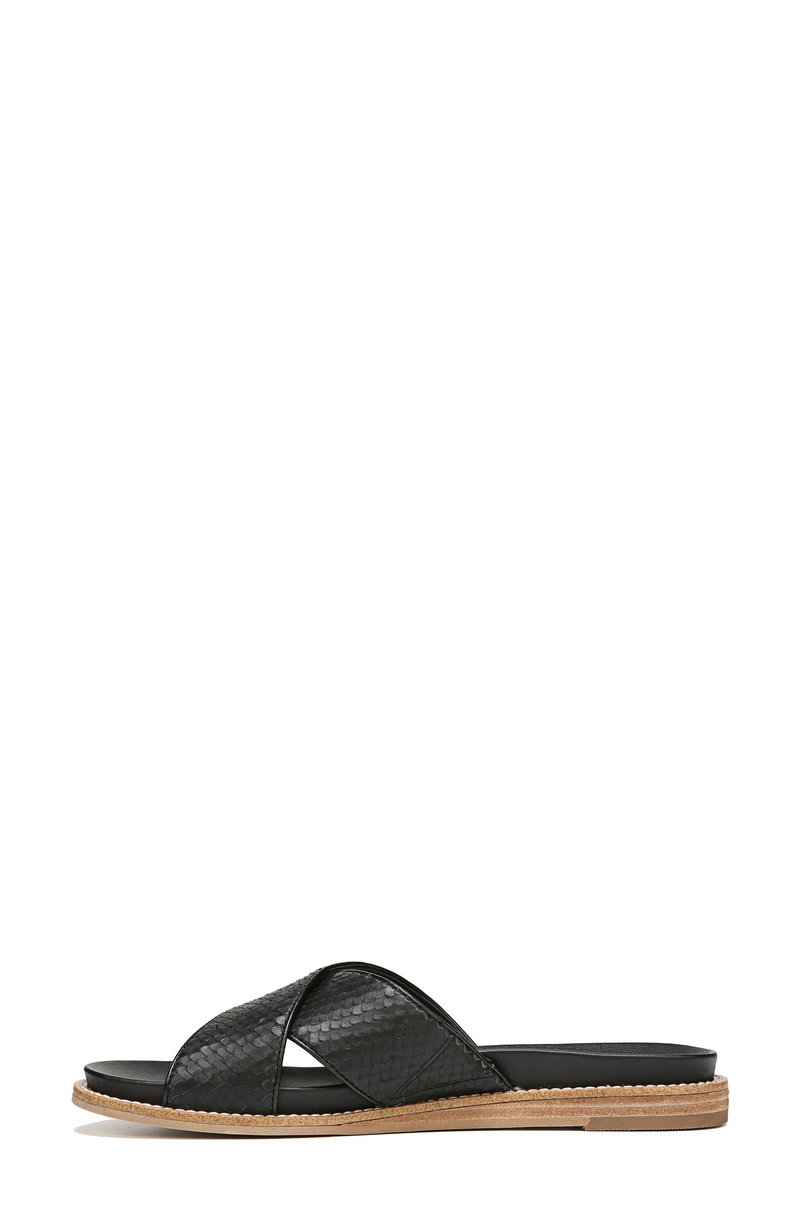 DR. SCHOLL'S, Deco Slide Sandal, Alternate thumbnail 3, color, BLACK LEATHER