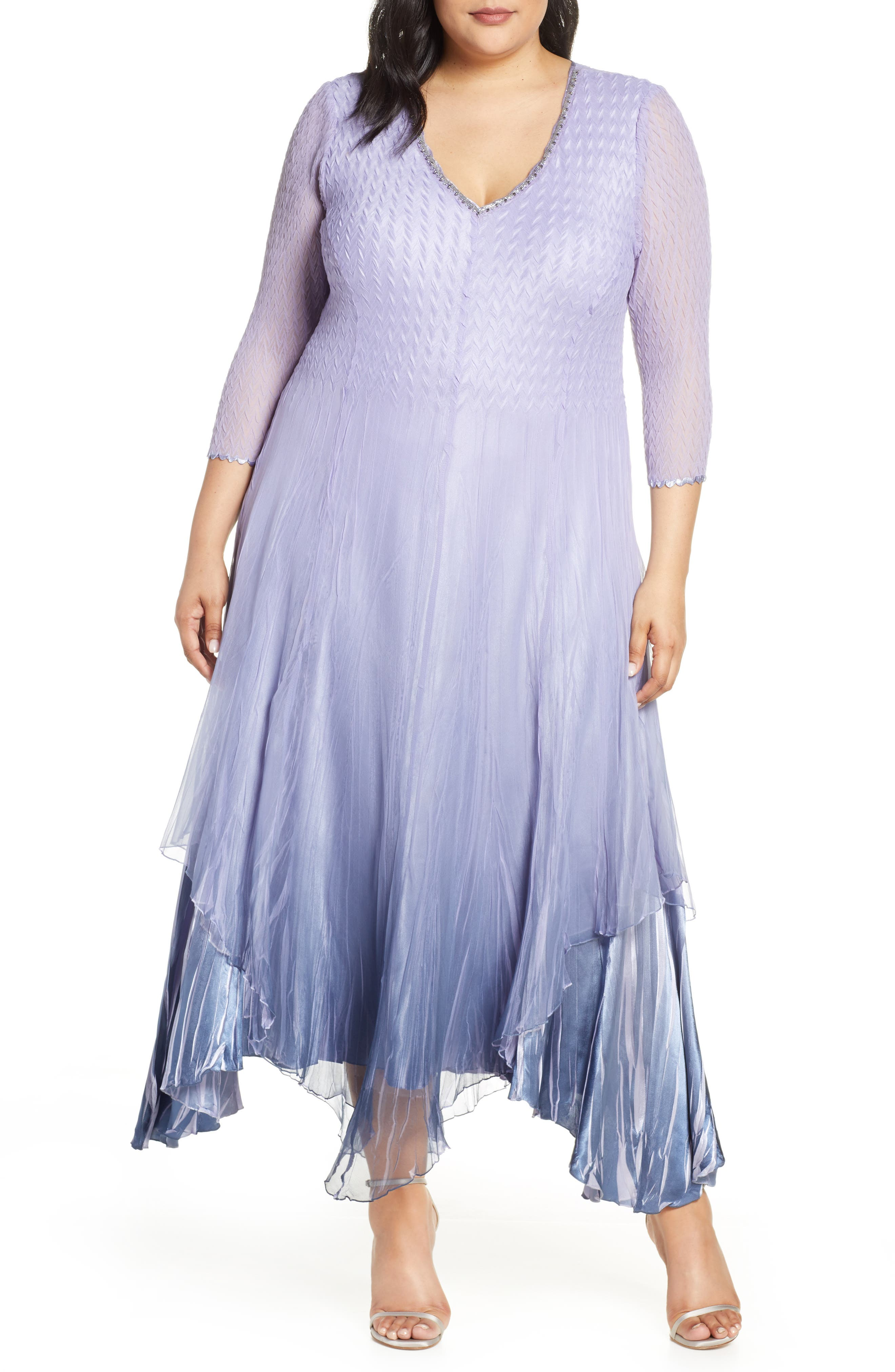 Plus Size Komarov Beaded V-Neck Chiffon Overlay Charmeuse Gown, Purple