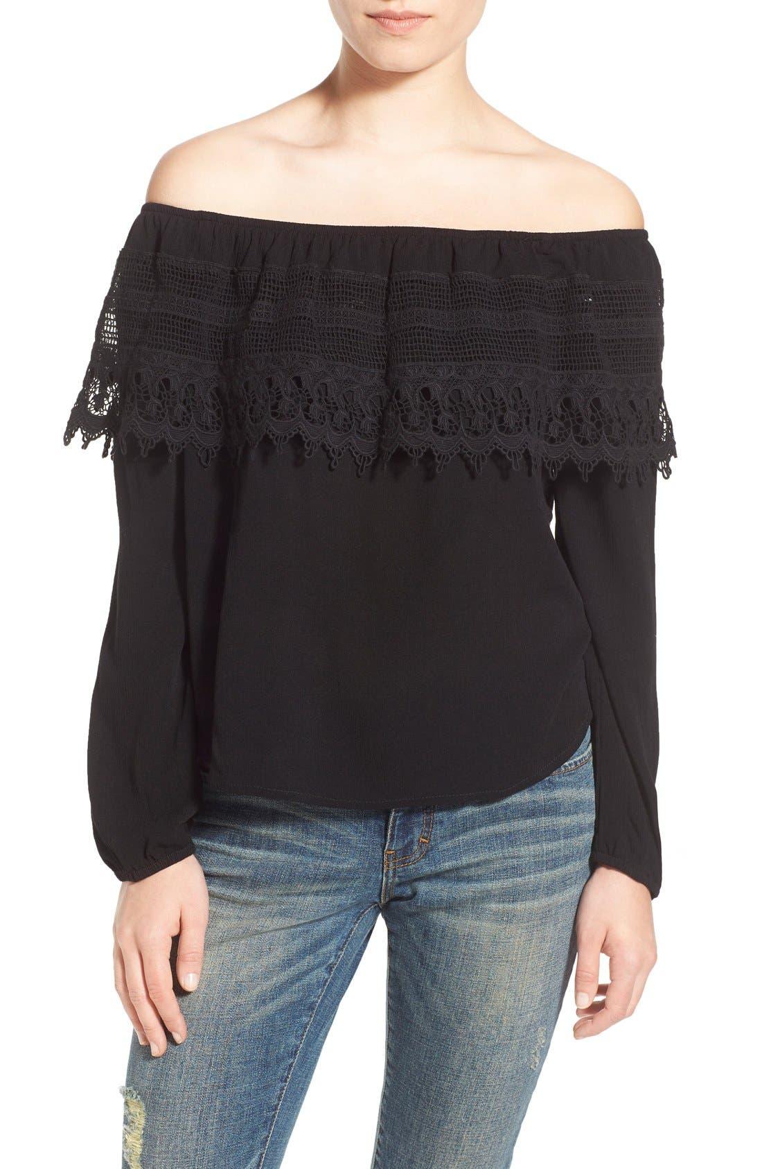 SOCIALITE Crochet Off the Shoulder Top, Main, color, 005