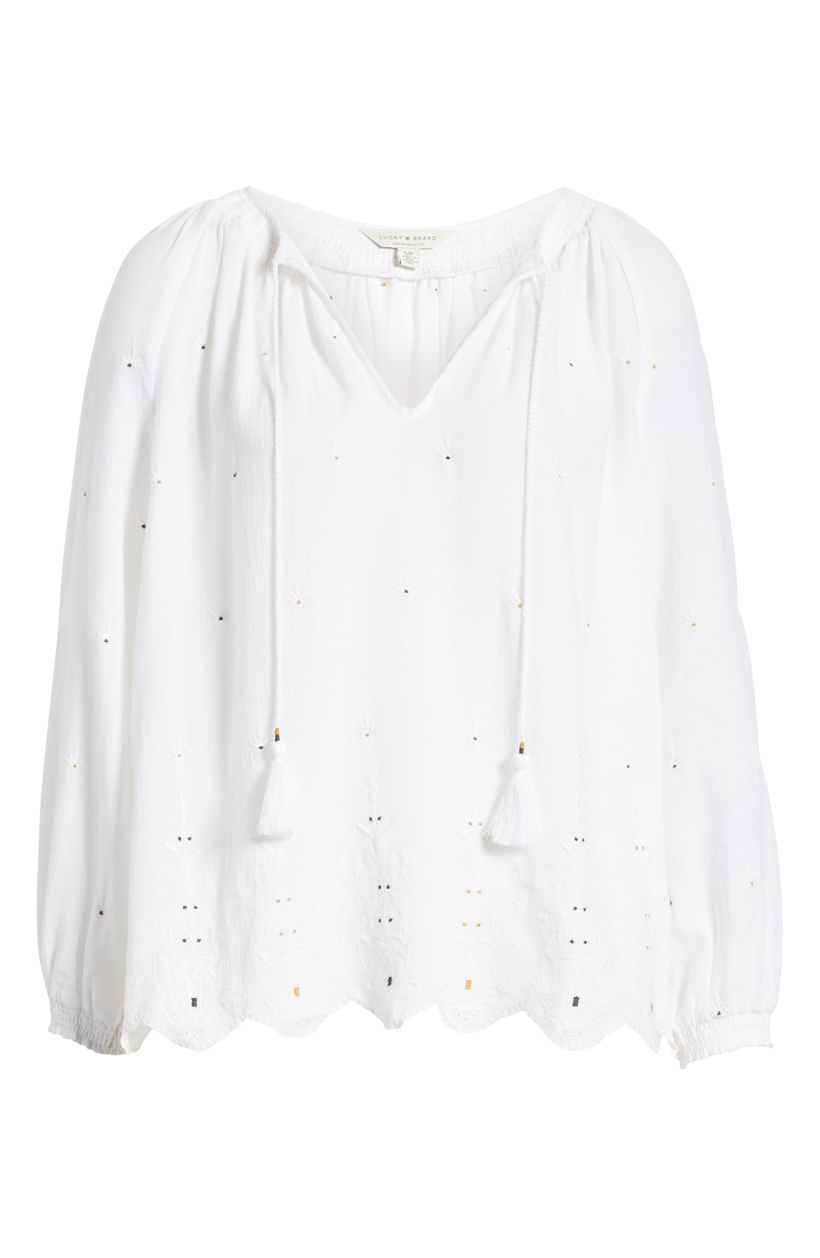 LUCKY BRAND, Eyelet Peasant Top, Alternate thumbnail 6, color, LUCKY WHITE