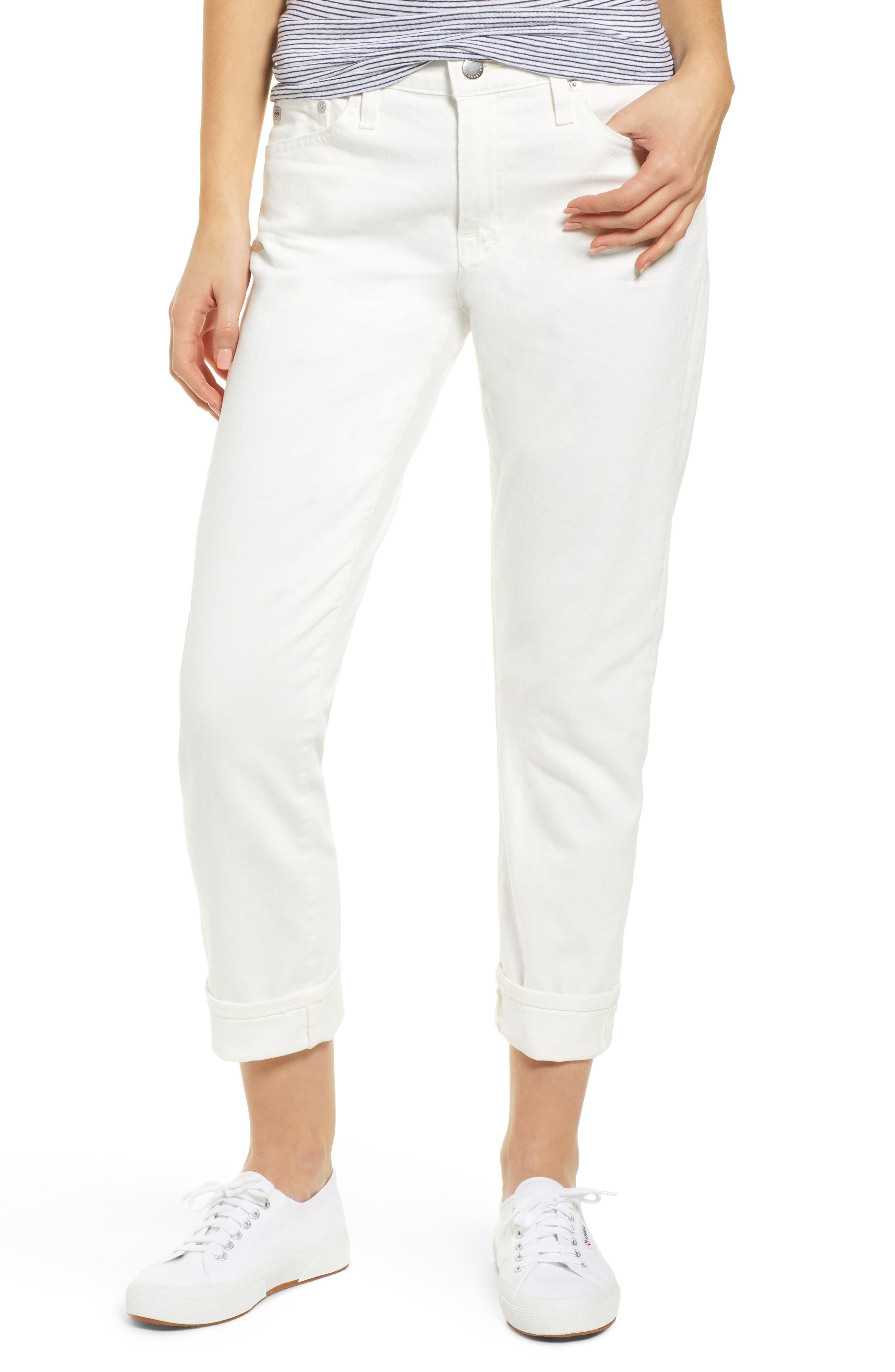 AG, The Ex-Boyfriend Crop Slim Jeans, Main thumbnail 1, color, 01Y TONAL WHITE