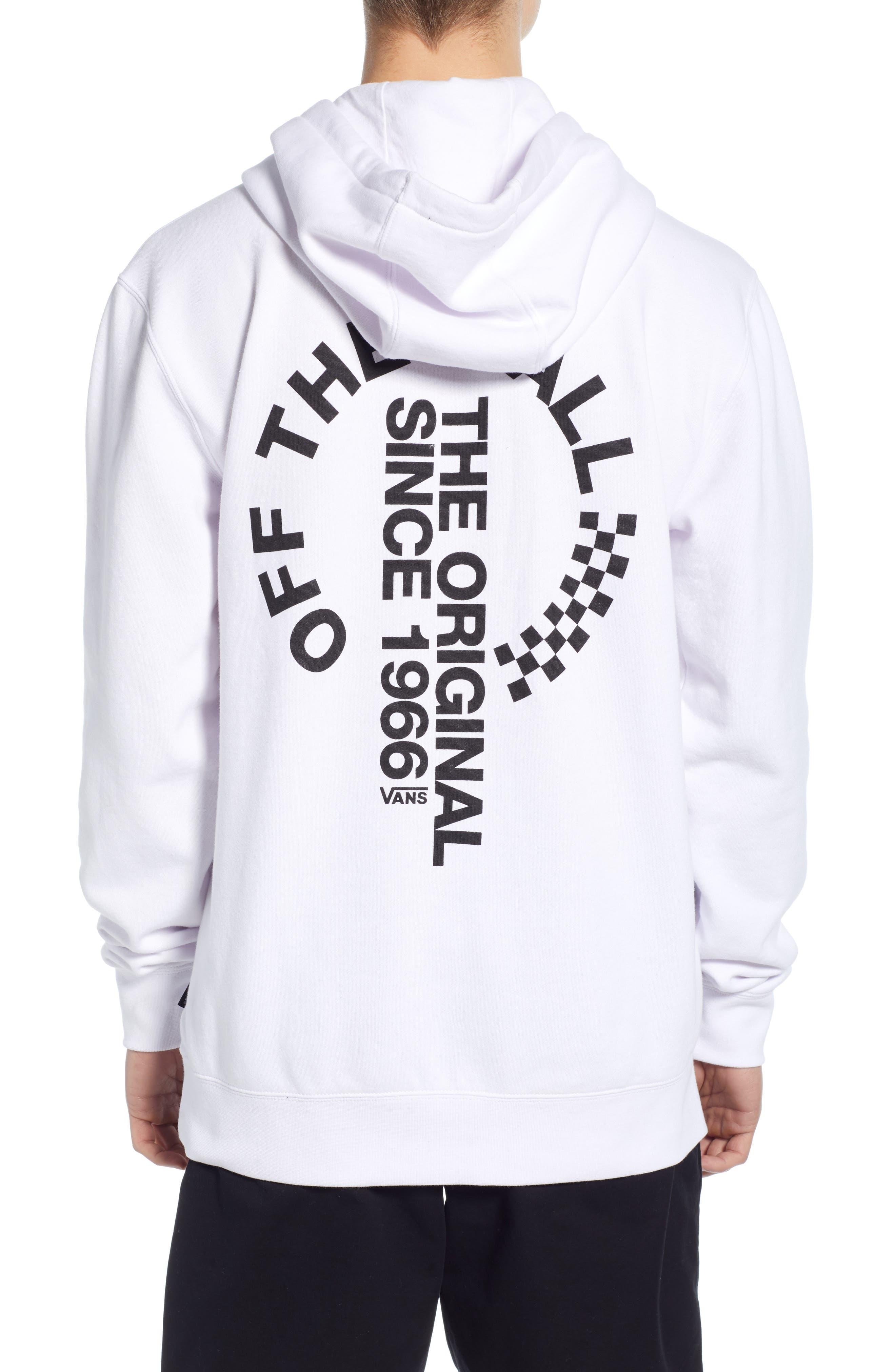 VANS, Off the Wall Distort Hooded Sweatshirt, Alternate thumbnail 2, color, WHITE