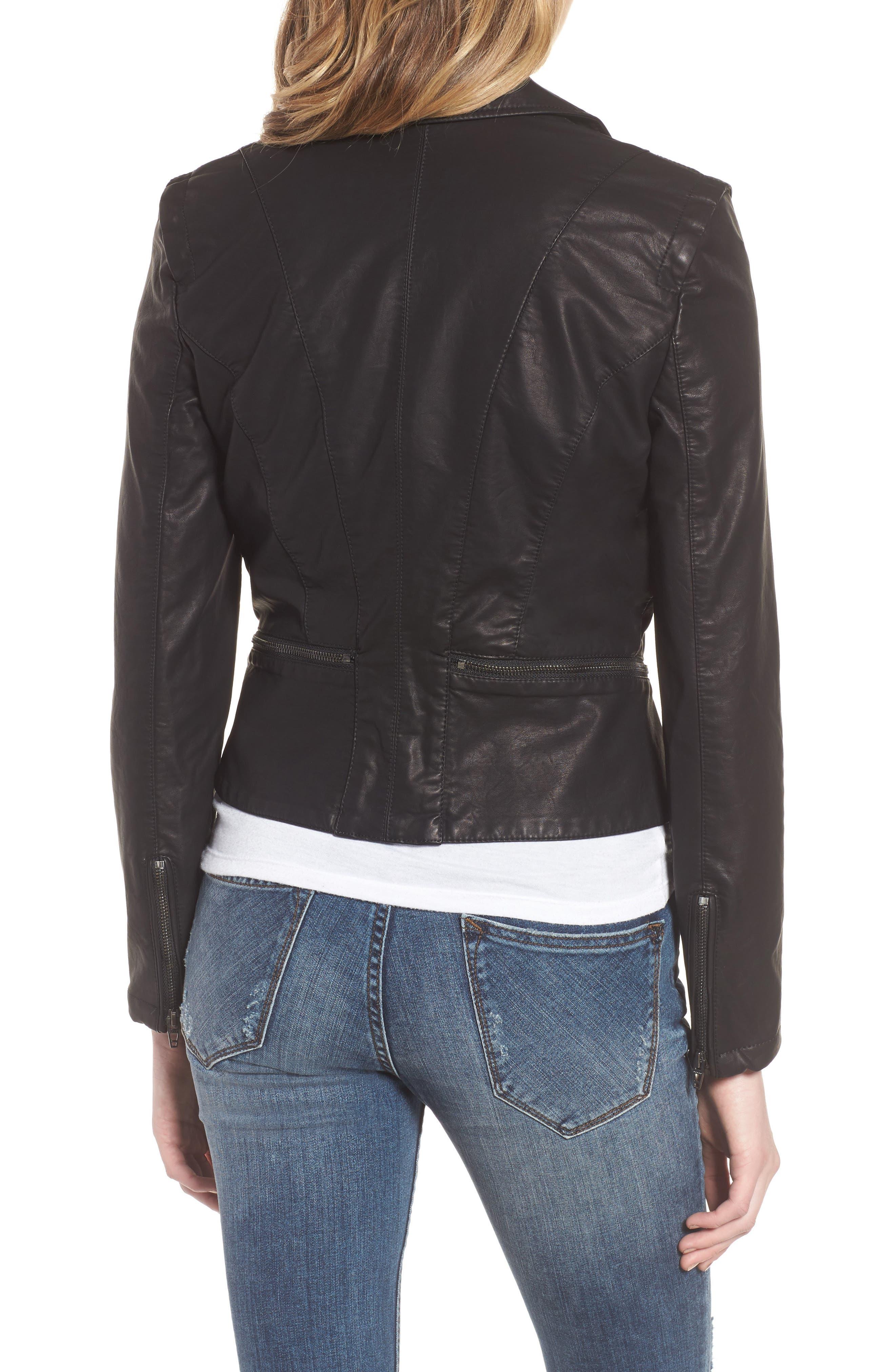 BLANKNYC, Faux Leather Moto Jacket, Alternate thumbnail 4, color, BLACK