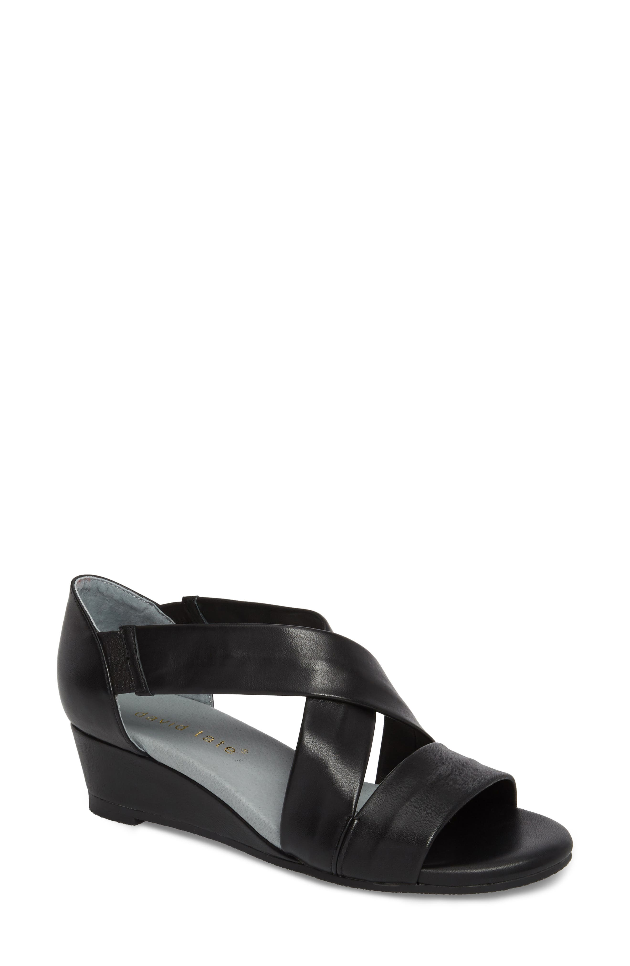 DAVID TATE, Swell Cross Strap Wedge Sandal, Main thumbnail 1, color, BLACK LEATHER
