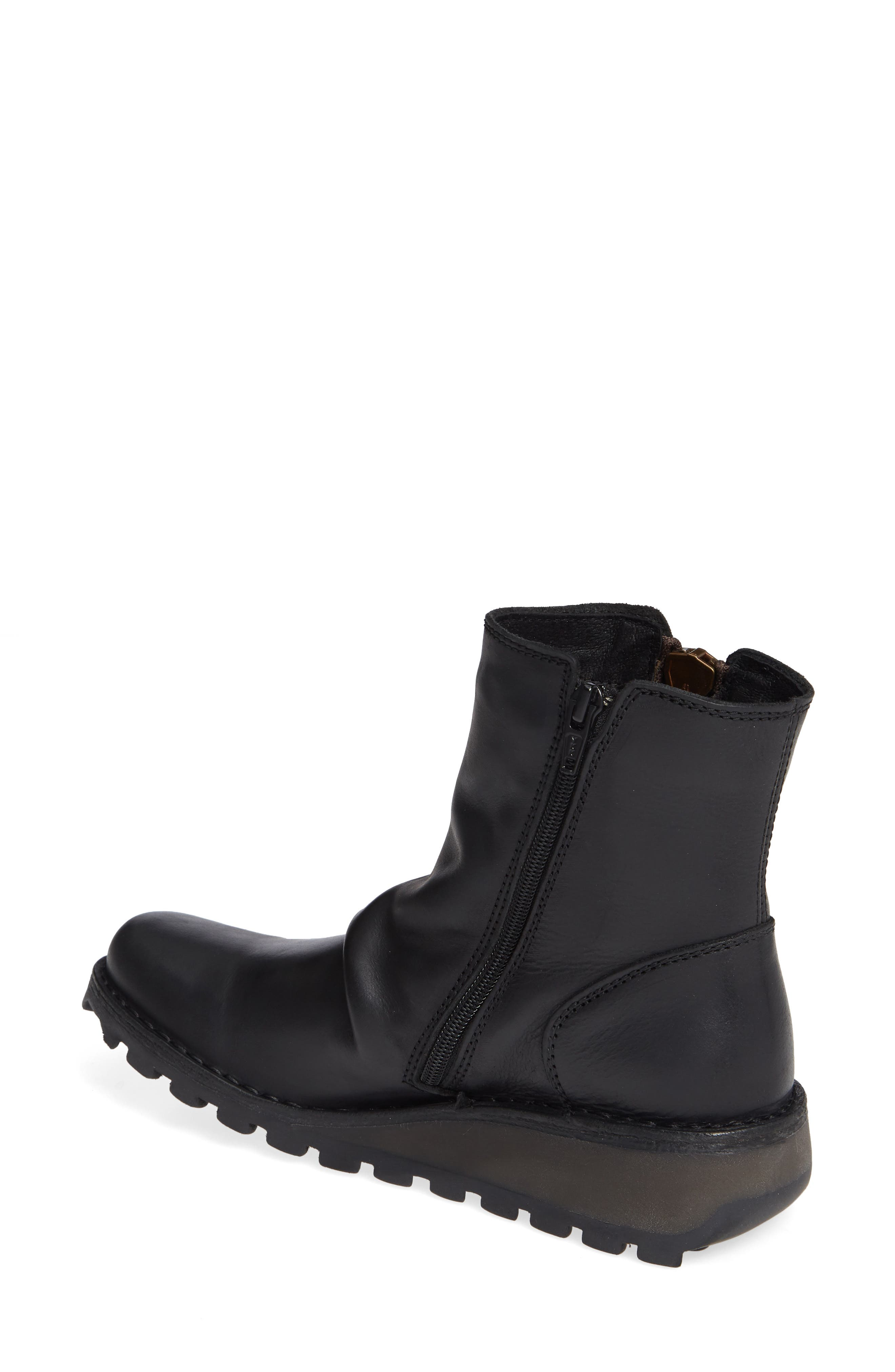 FLY LONDON, Mong Boot, Alternate thumbnail 2, color, BLACK LEATHER