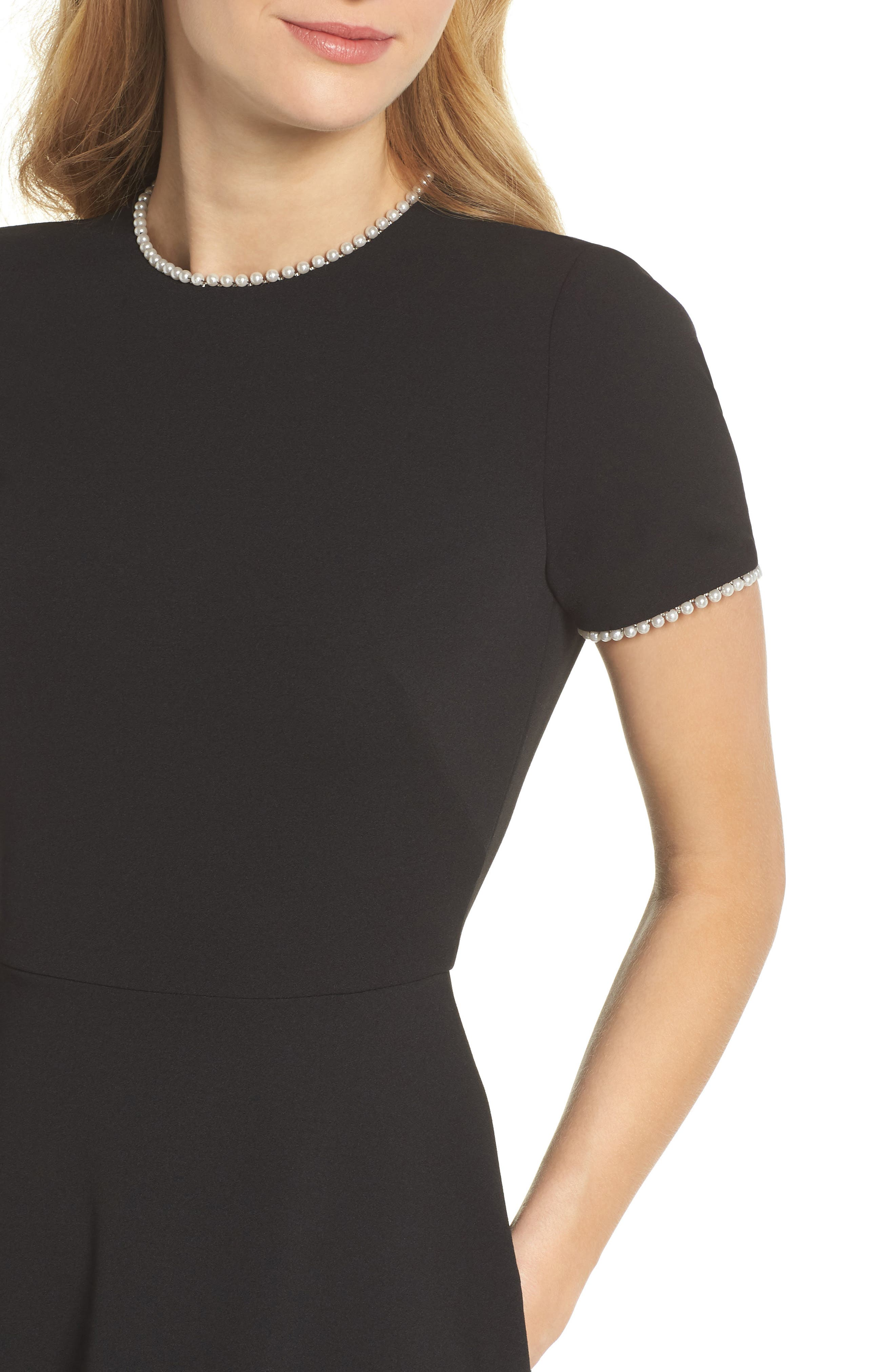GAL MEETS GLAM COLLECTION, Victoria Pearly Trim Fit & Flare Cocktail Dress, Alternate thumbnail 5, color, BLACK