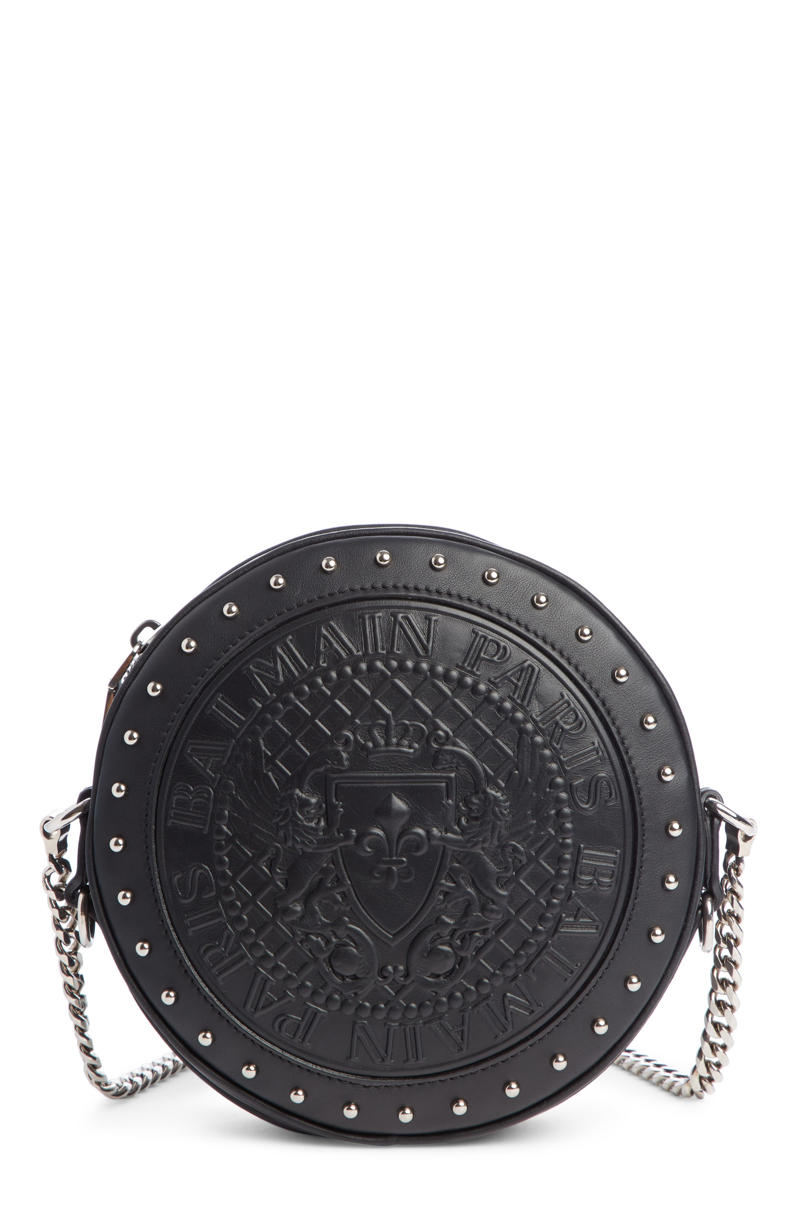 BALMAIN, Disco Embossed Calfskin Leather Crossbody Bag, Main thumbnail 1, color, NOIR
