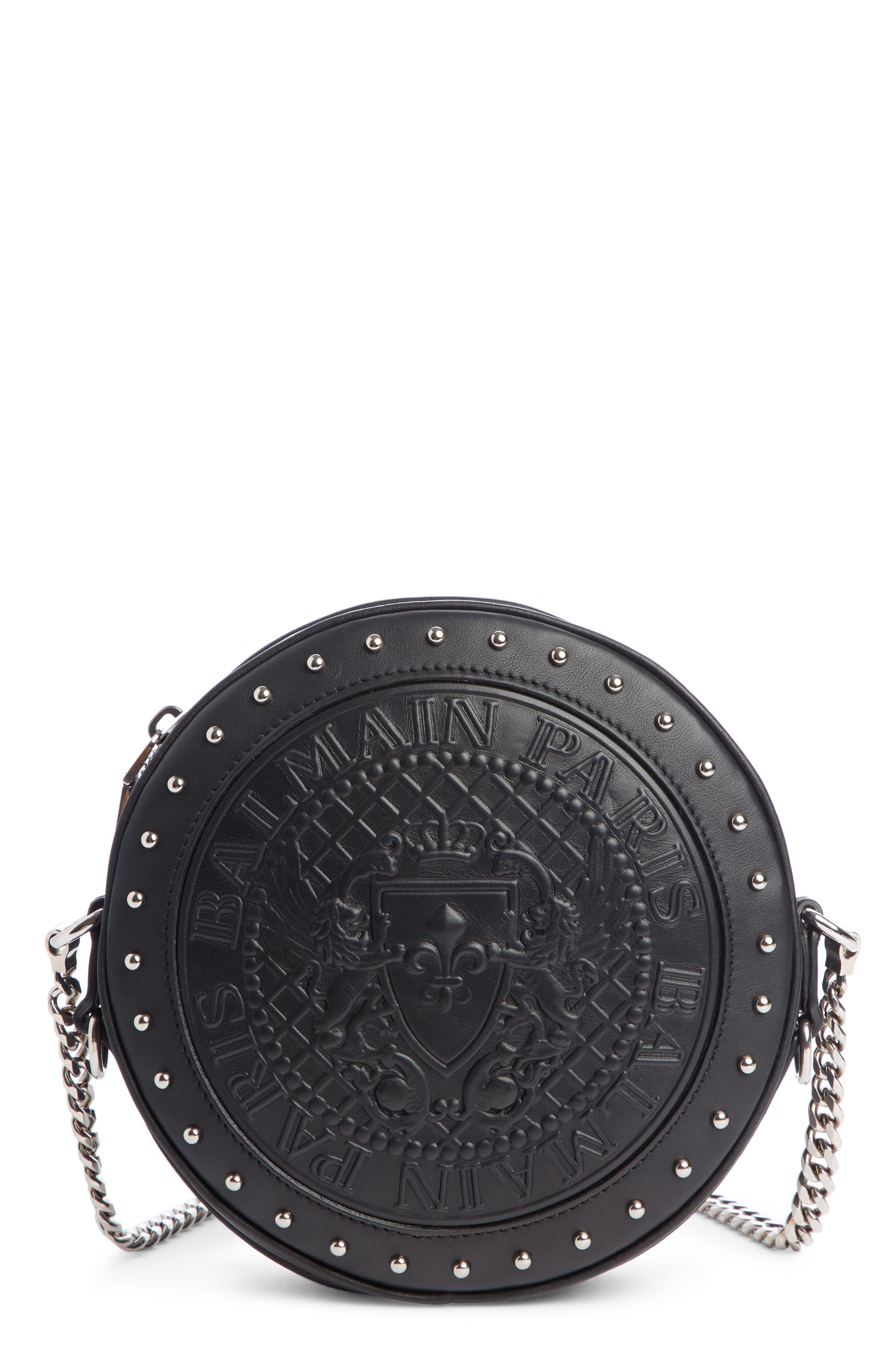 BALMAIN Disco Embossed Calfskin Leather Crossbody Bag, Main, color, NOIR