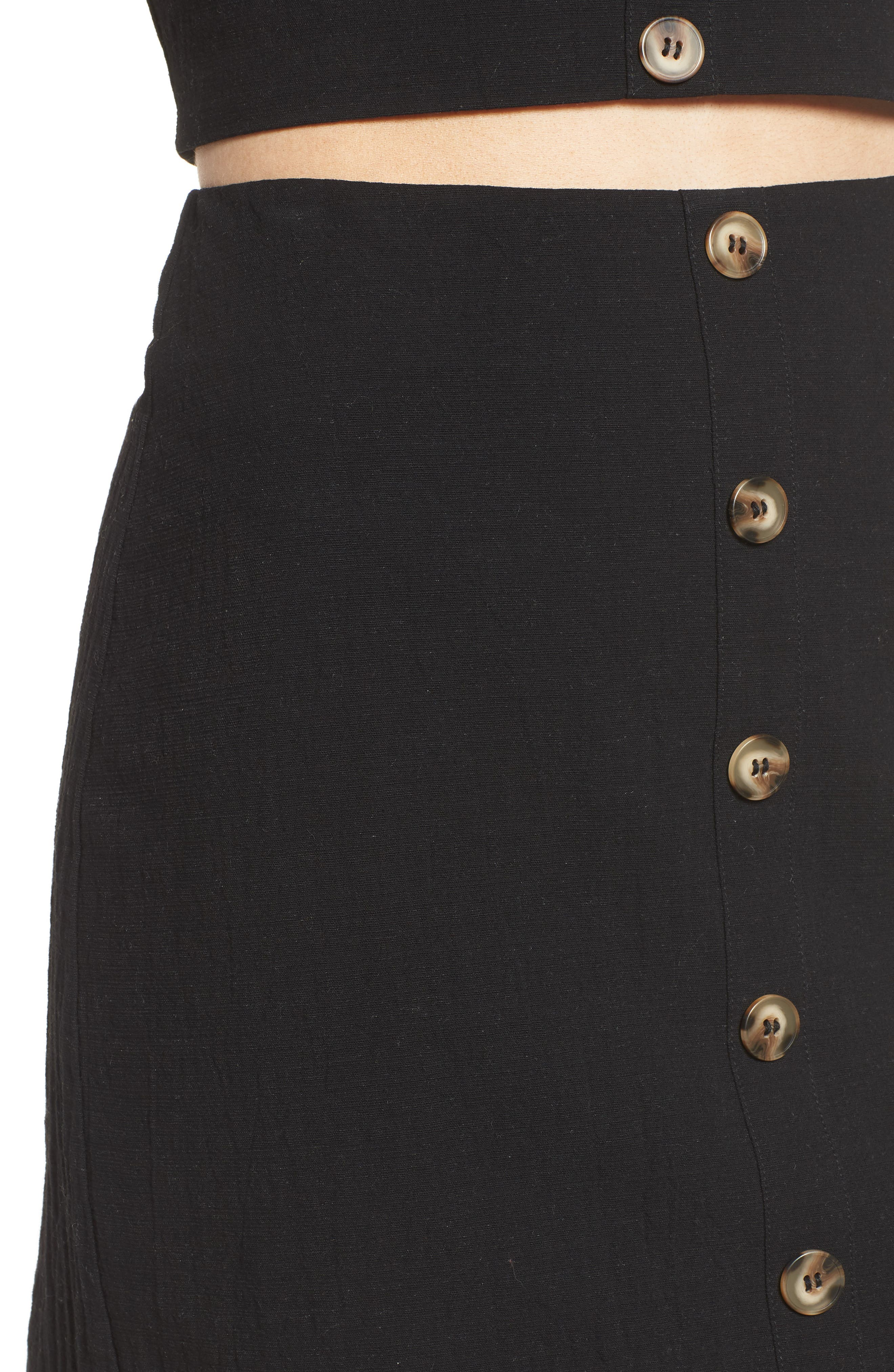 J.O.A., Button Front Miniskirt, Alternate thumbnail 4, color, 001