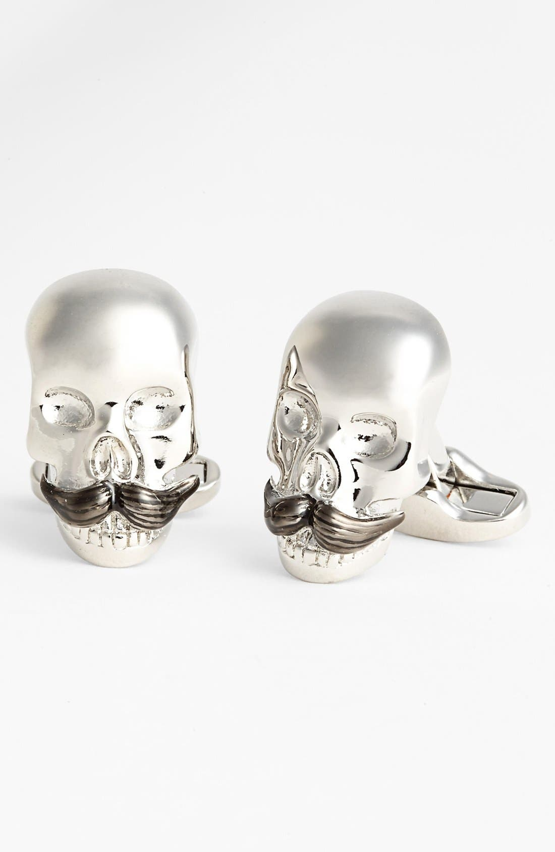 PAUL SMITH, ACCESSORIES SKULL CUFFLINK, Main thumbnail 1, color, 040