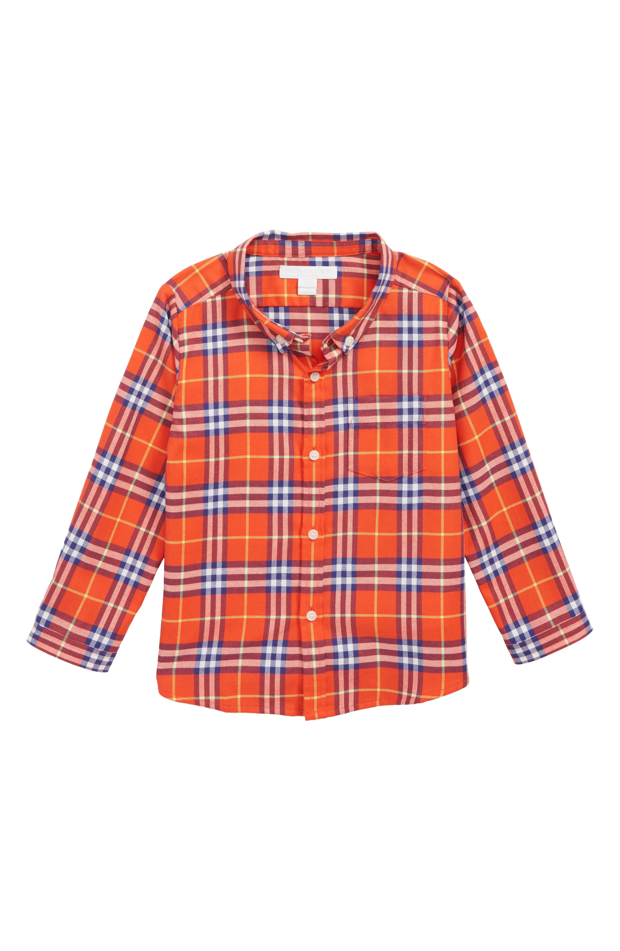 BURBERRY, Fred Plaid Woven Shirt, Main thumbnail 1, color, ORANGE RED CHK