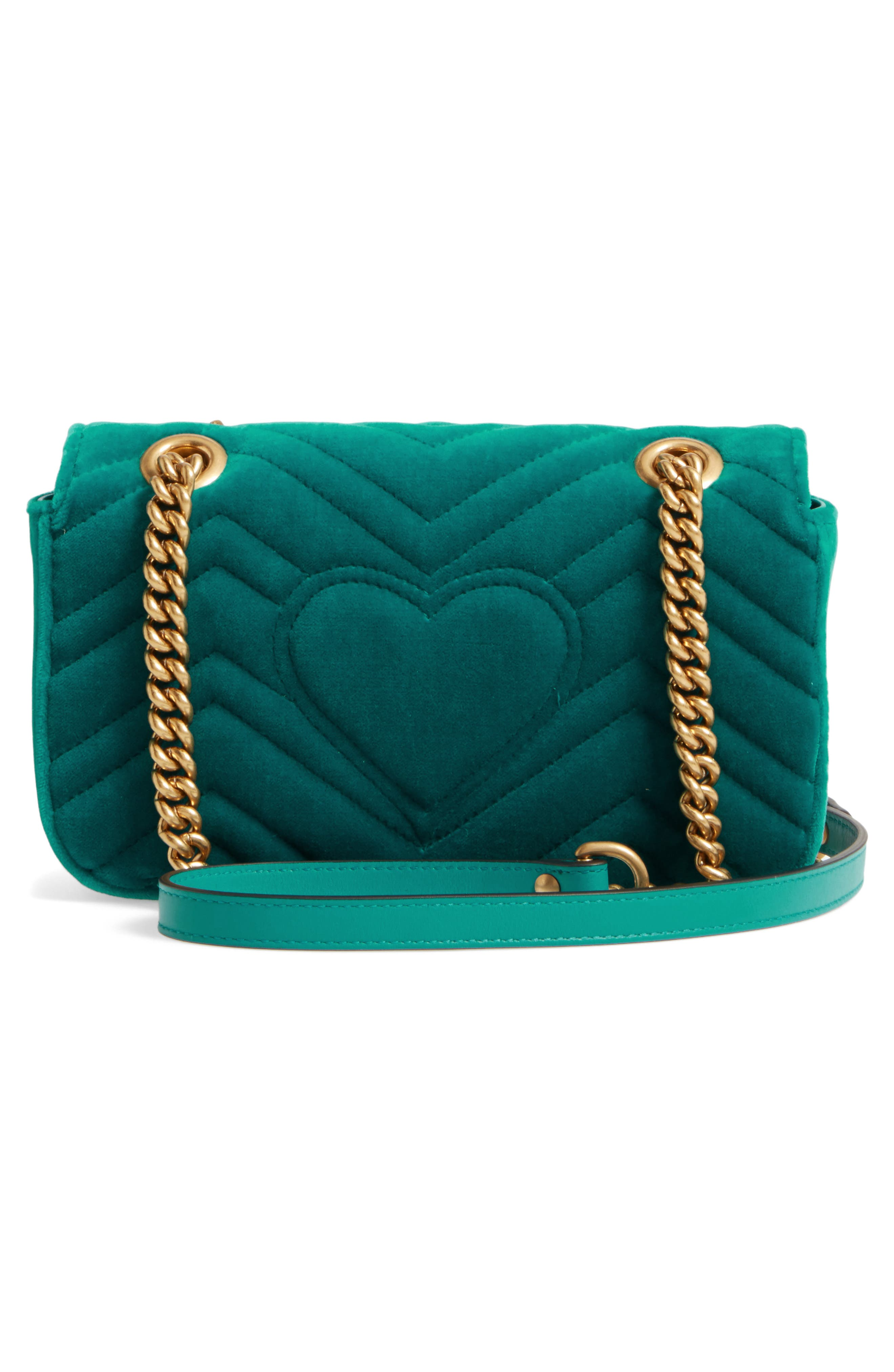 GUCCI, Mini GG Marmont Matelassé Velvet Shoulder Bag, Alternate thumbnail 3, color, PIVONE