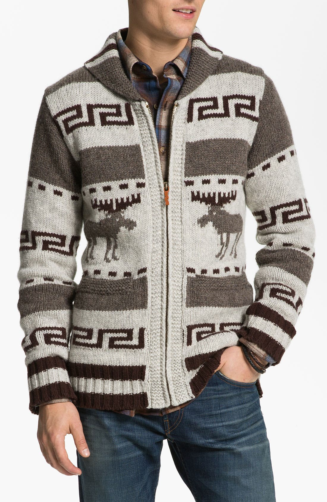 NUDIE JEANS, Nudie 'Lenny Elk' Shawl Collar Zip Sweater, Main thumbnail 1, color, 020
