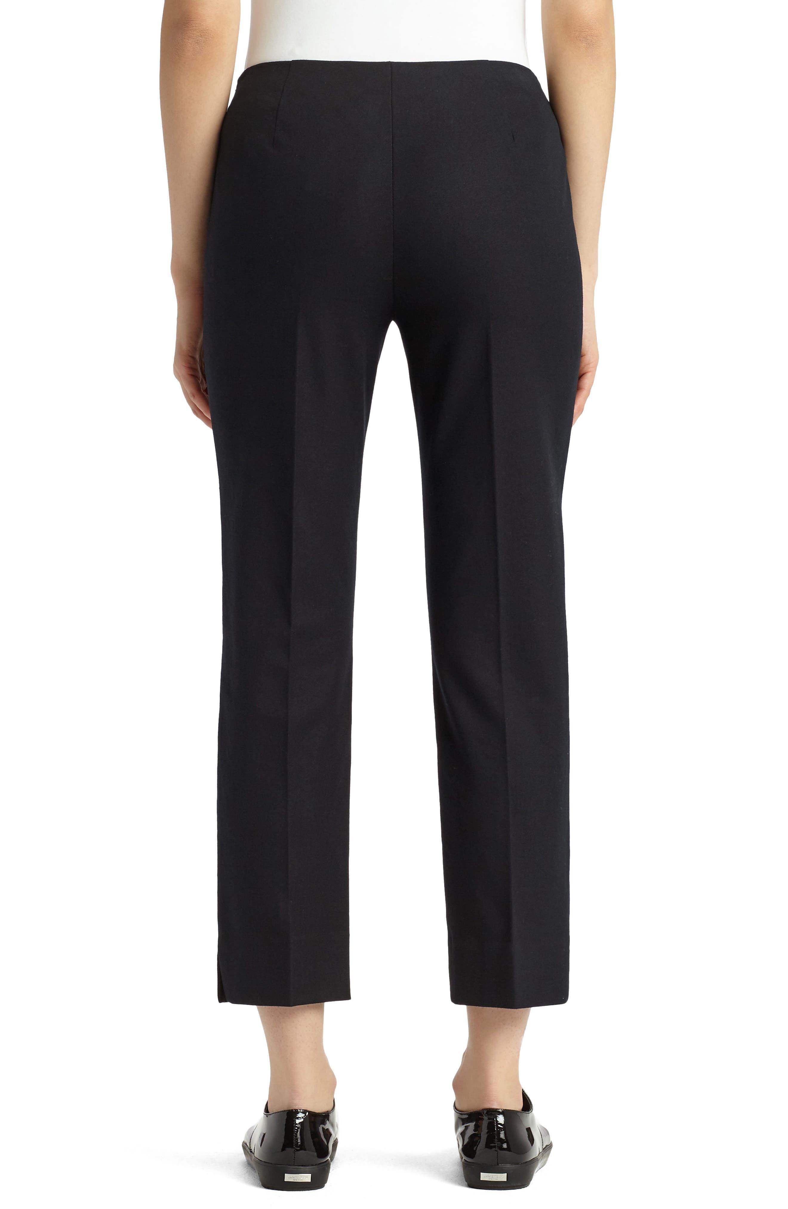 LAFAYETTE 148 NEW YORK, Lexington Stretch Cotton Crop Pants, Alternate thumbnail 2, color, BLACK