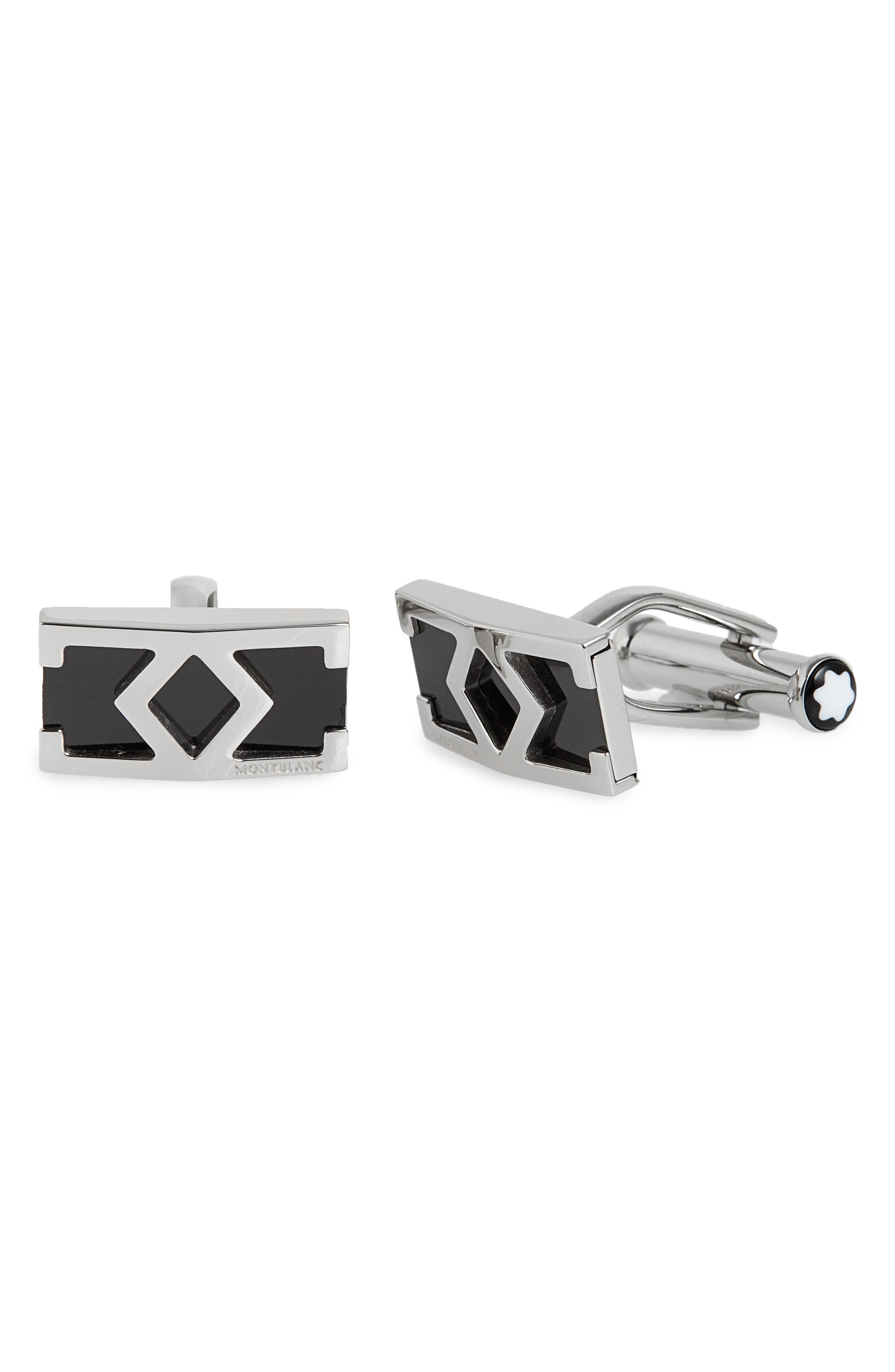 MONTBLANC, M Motif Cuff Links, Main thumbnail 1, color, STAINLESS STEEL