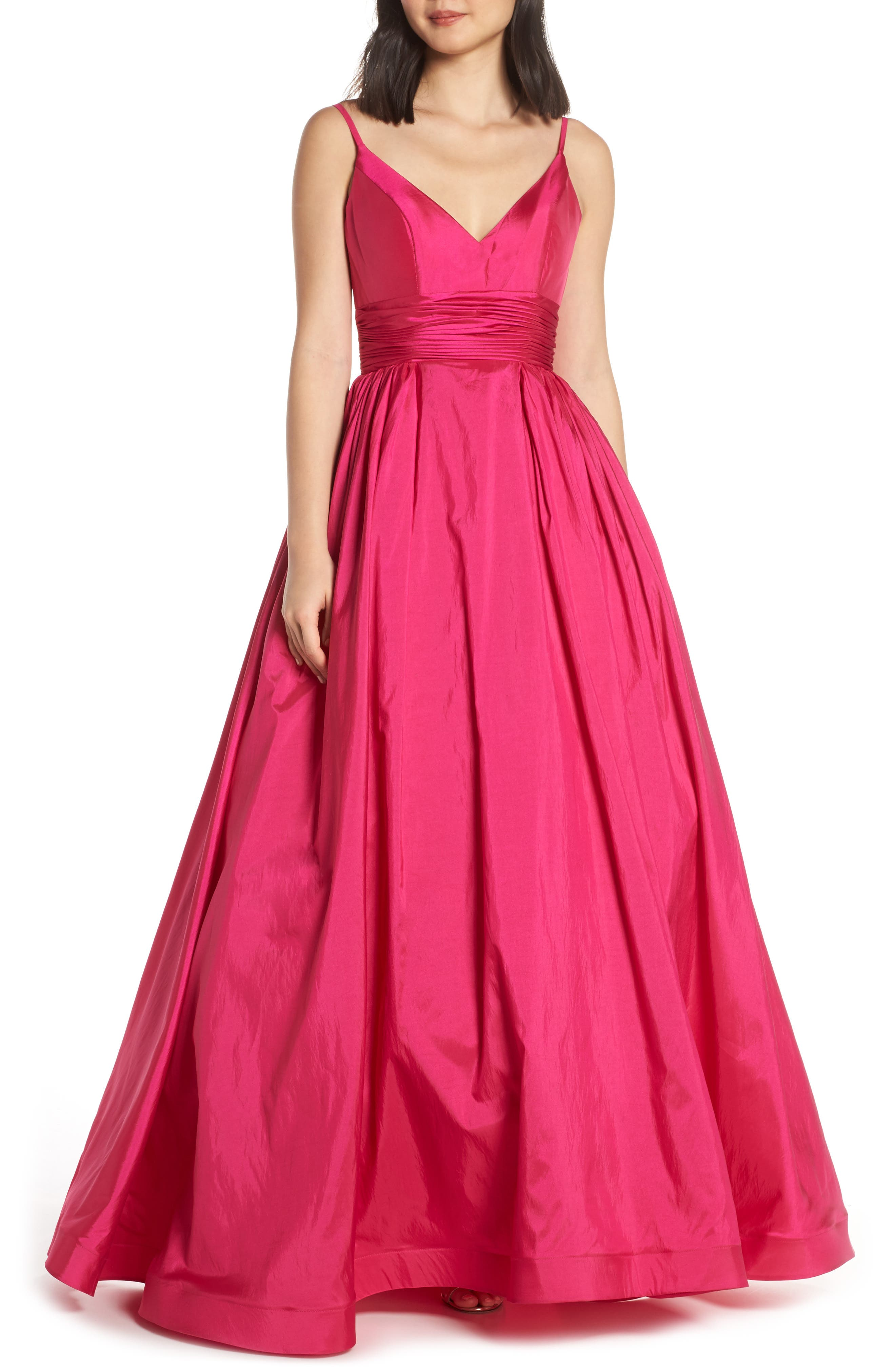 MAC DUGGAL, V-Neck Satin Evening Dress, Main thumbnail 1, color, MAGENTA