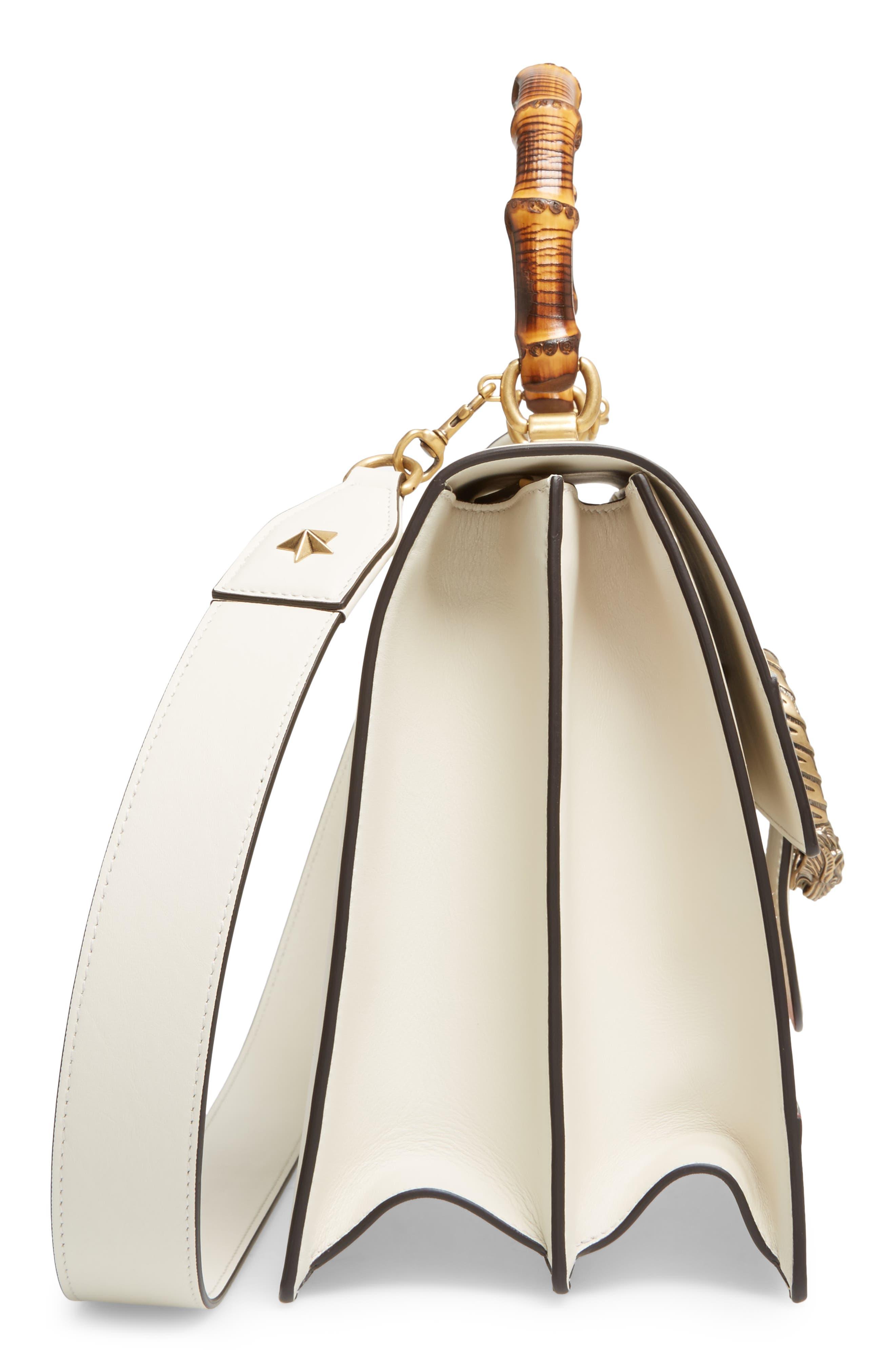 GUCCI, Large Dionysus Top Handle Leather Shoulder Bag, Alternate thumbnail 5, color, MYSTIC WHITE/ BLUE/ RED
