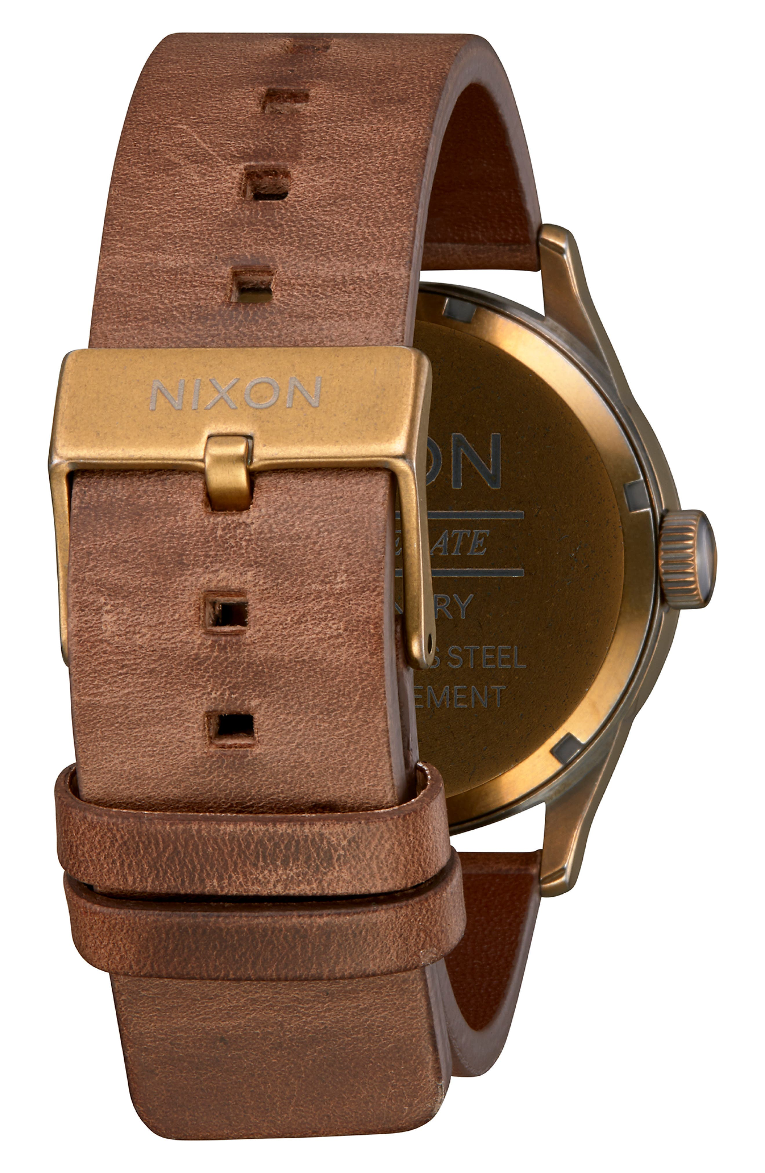 NIXON, The Sentry Leather Strap Watch, 42mm, Alternate thumbnail 2, color, BROWN/ BLACK/ BRASS
