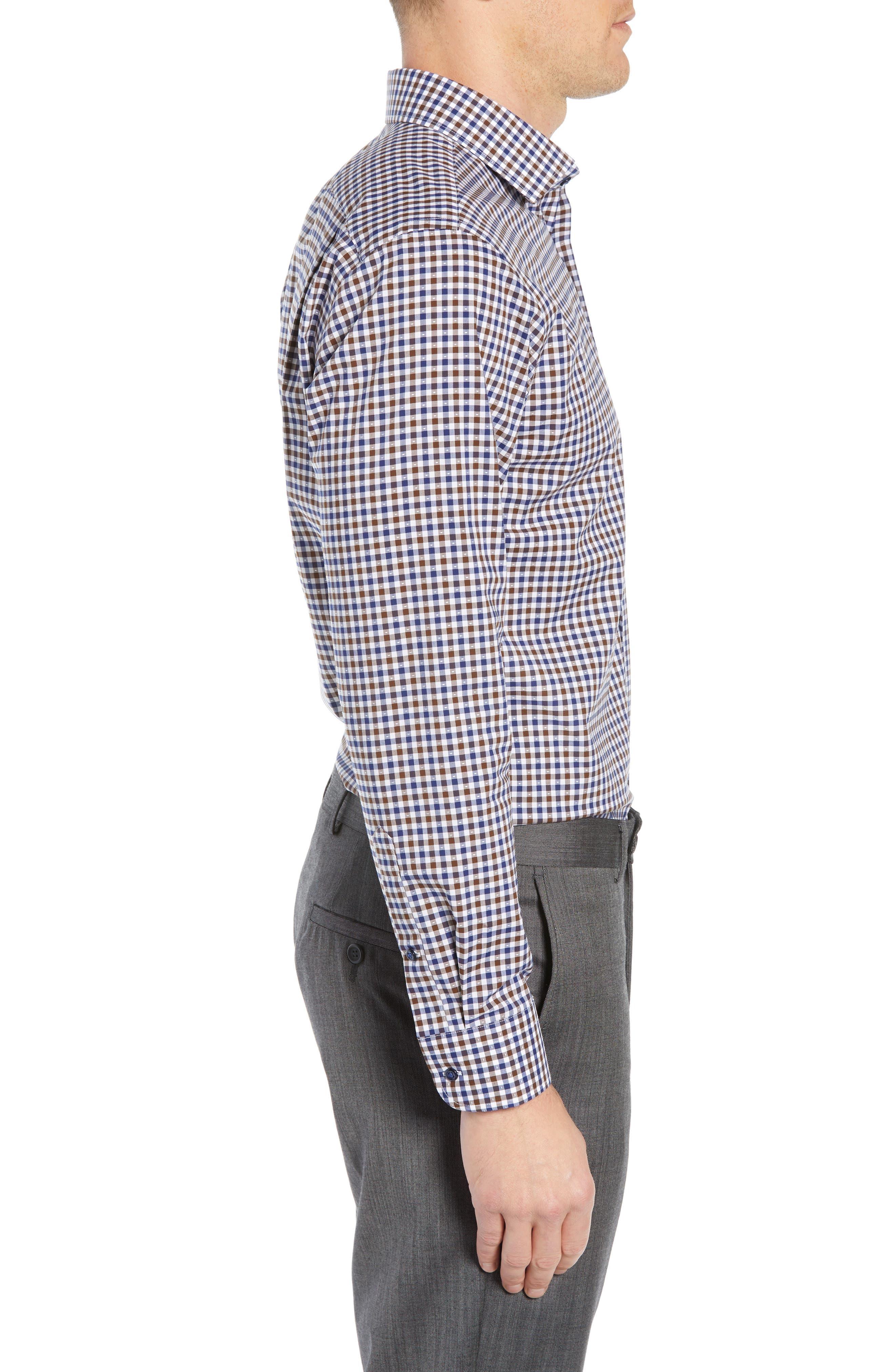 NORDSTROM MEN'S SHOP, Trim Fit Non-Iron Check Dress Shirt, Alternate thumbnail 4, color, BROWN FAWN