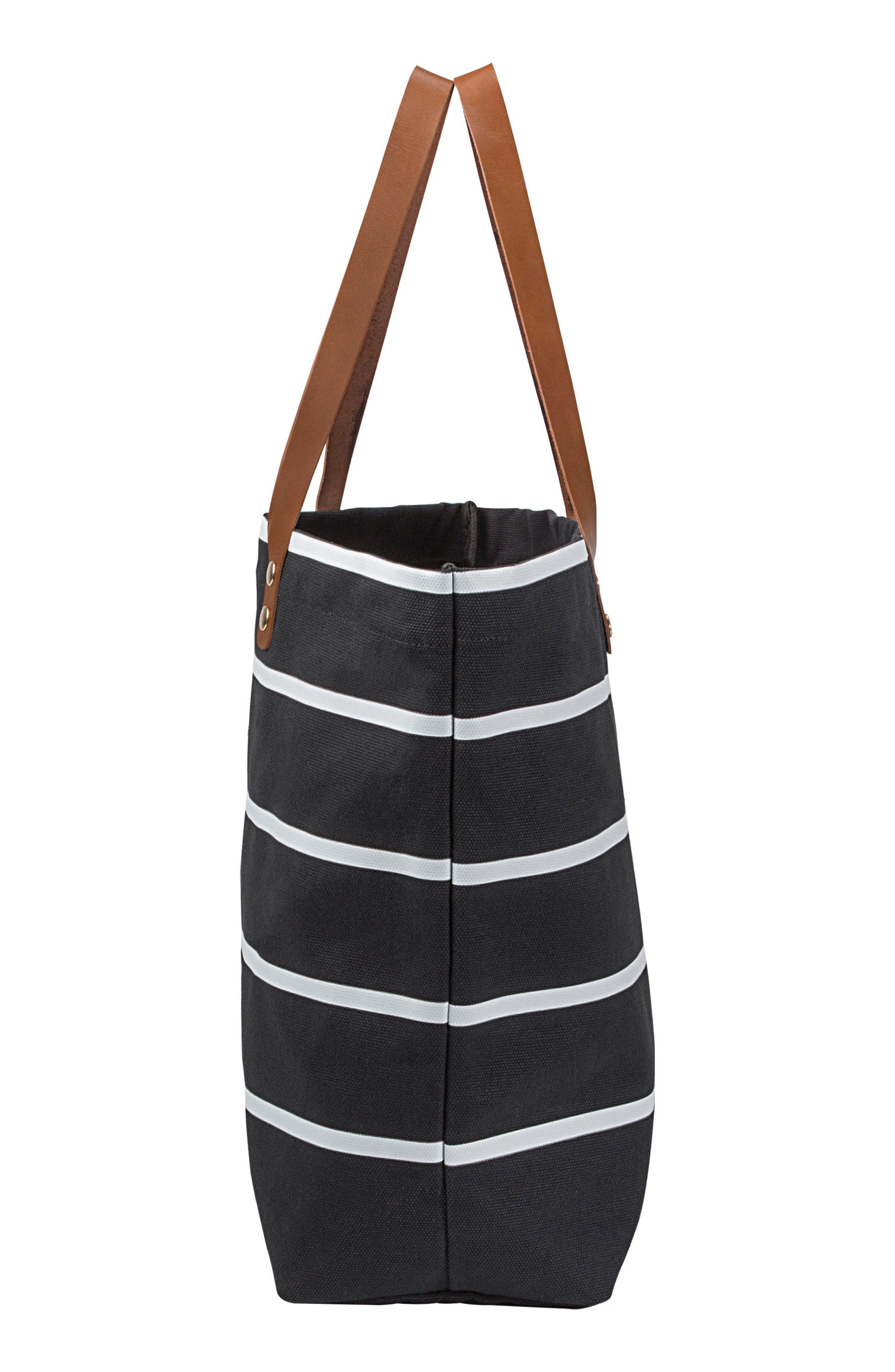 CATHY'S CONCEPTS, Monogram Large Canvas Tote, Alternate thumbnail 2, color, BLACK