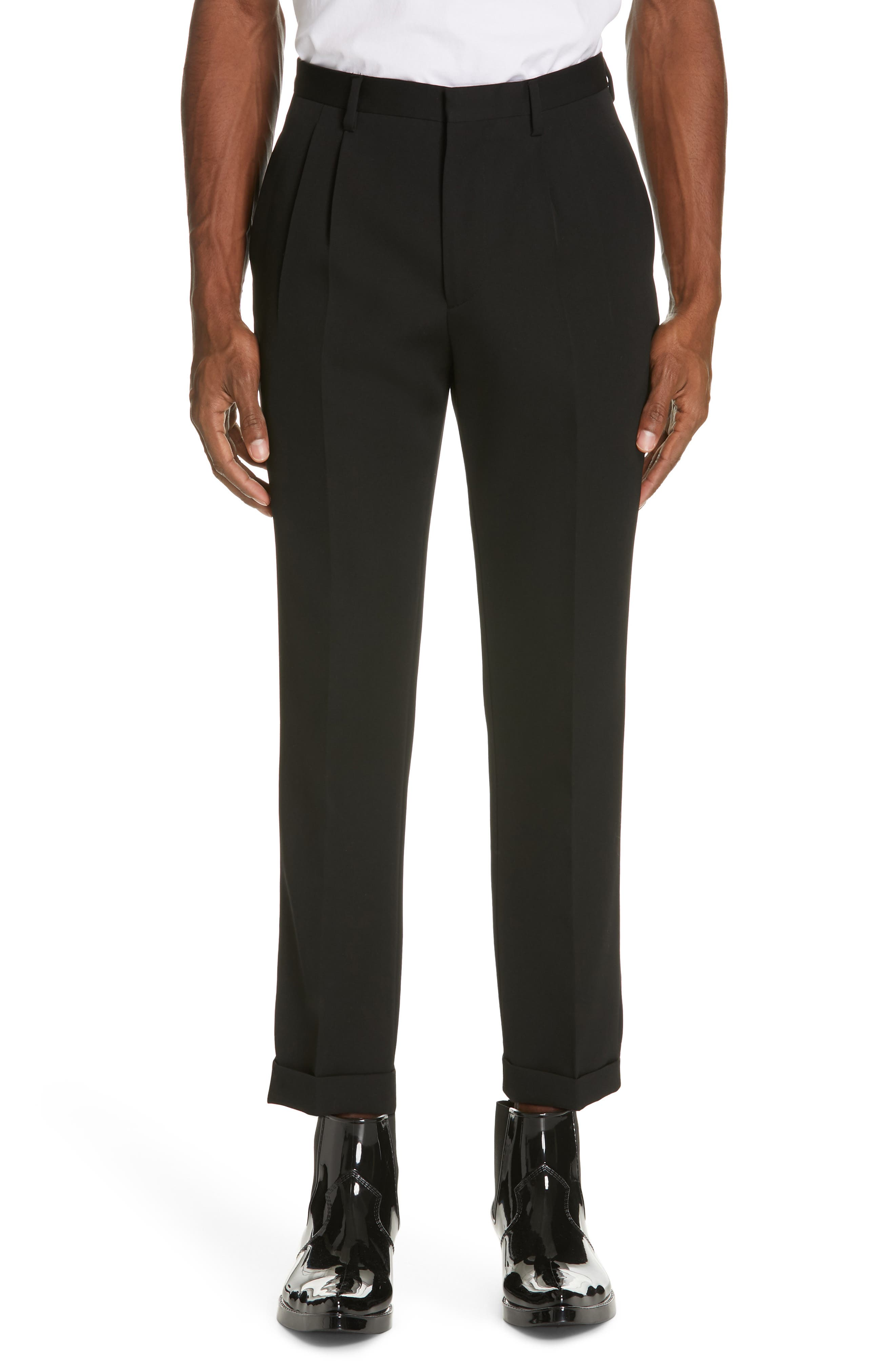 CALVIN KLEIN 205W39NYC, Pleated Gabardine Wool Trousers, Main thumbnail 1, color, BLACK