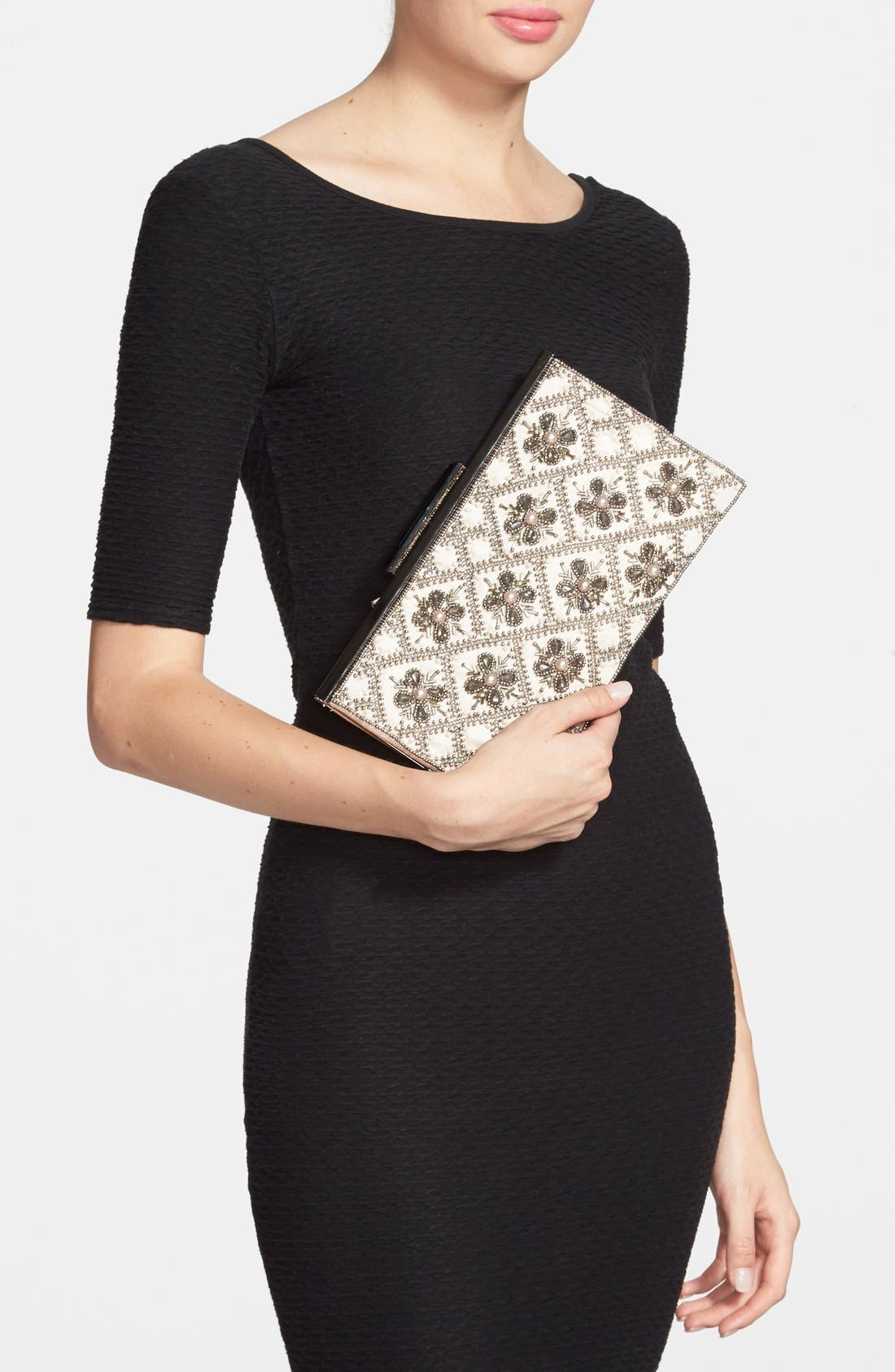 GLINT, 'Topper' Embellished Frame Clutch, Alternate thumbnail 3, color, 950