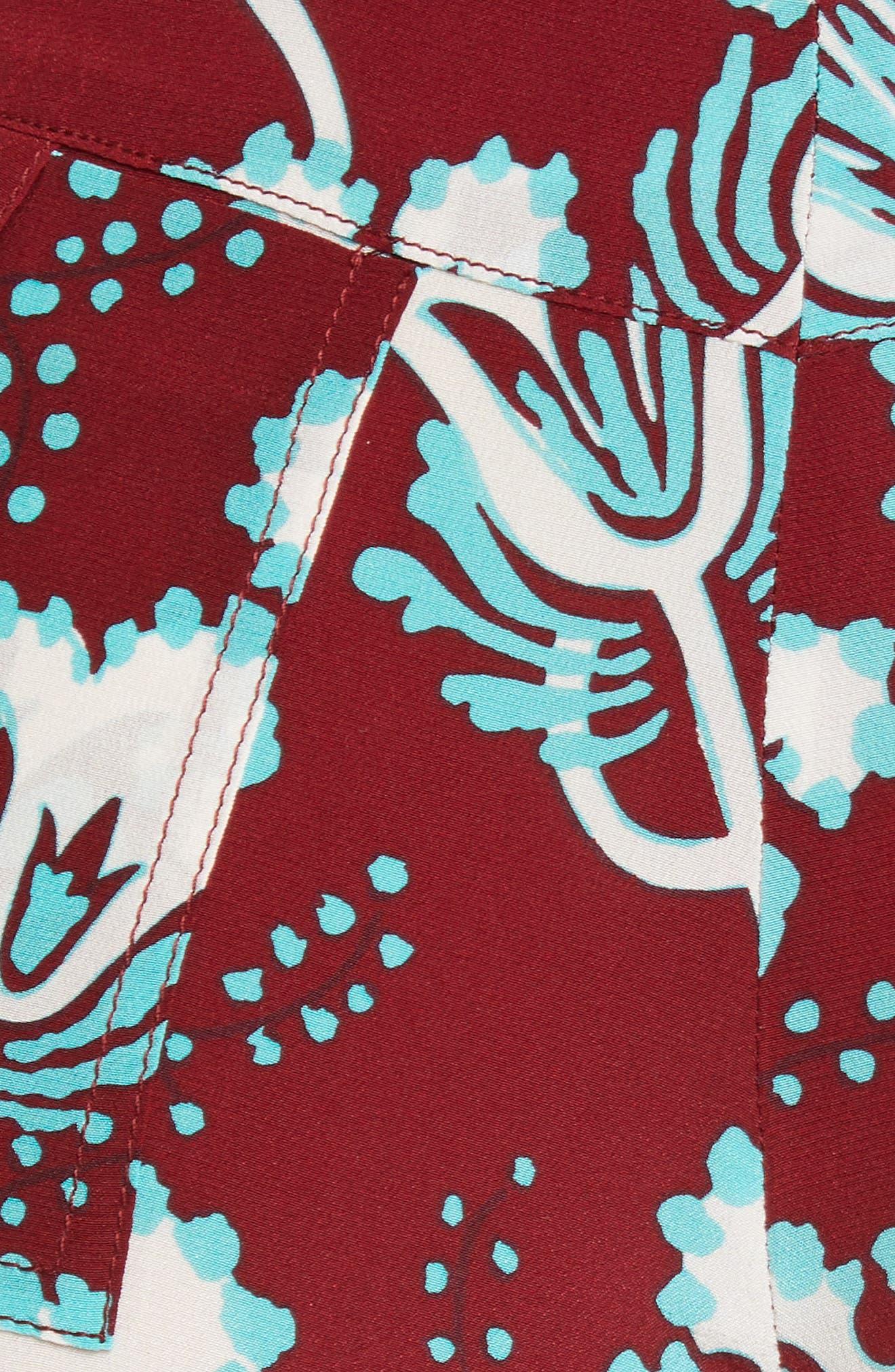 VALENTINO, Elderflower Print Wide Leg Silk Pants, Alternate thumbnail 5, color, GTB-GARNET/TURCHESE/BIANCO