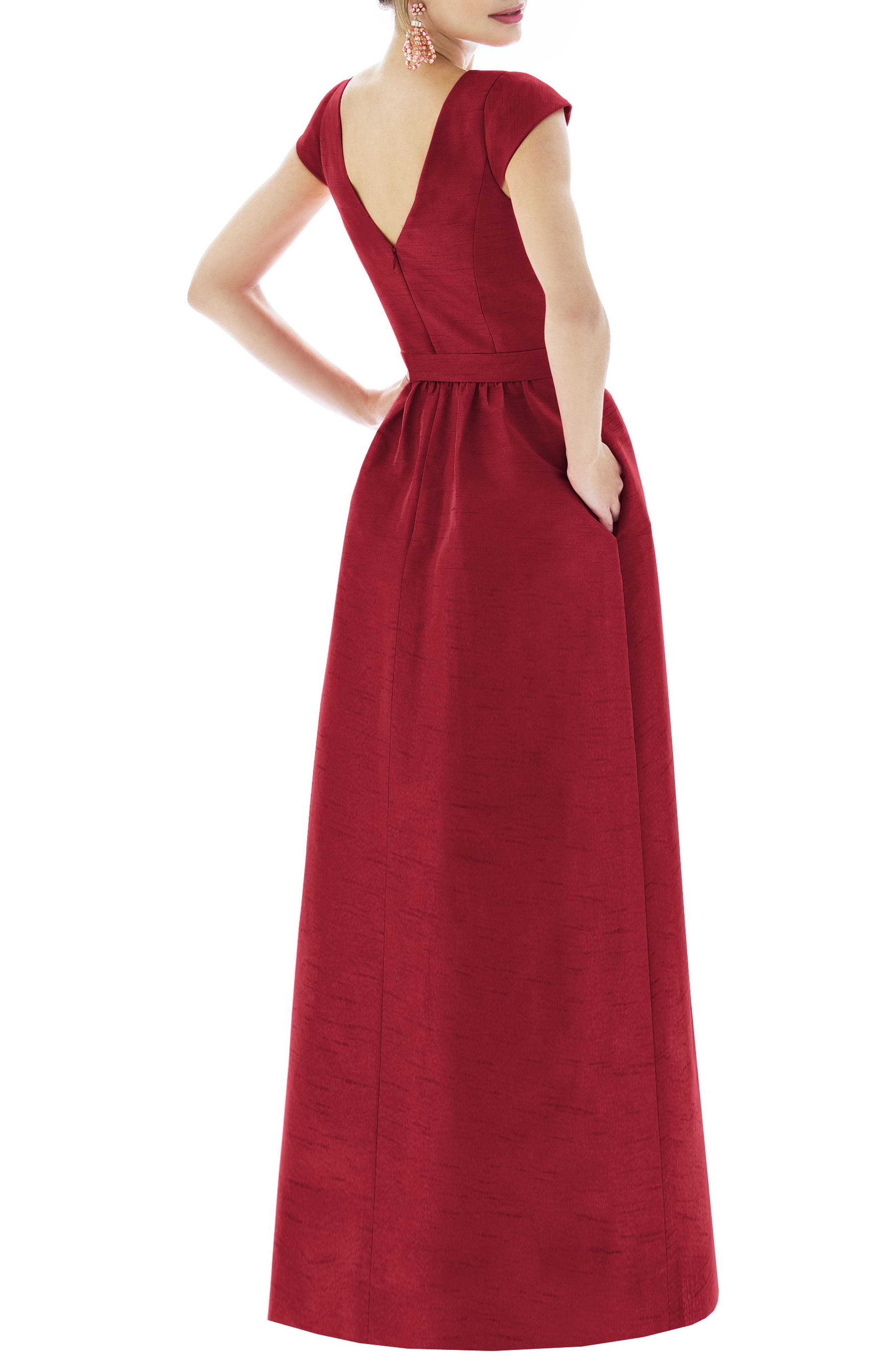 ALFRED SUNG, Cap Sleeve Dupioni Full Length Dress, Alternate thumbnail 2, color, BARCELONA