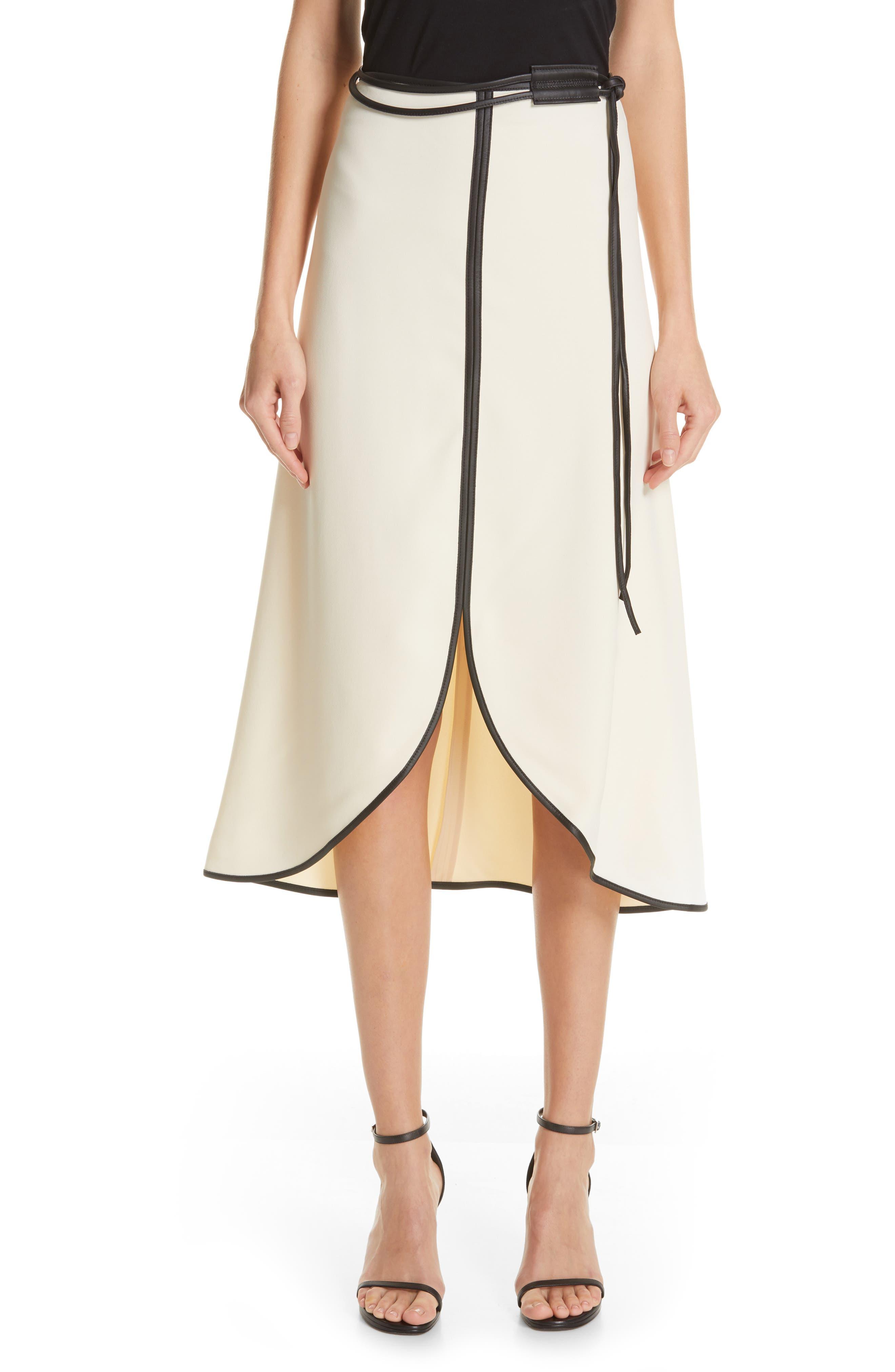 VICTORIA BECKHAM, Leather Trim Midi Skirt, Main thumbnail 1, color, MILK/ BLACK