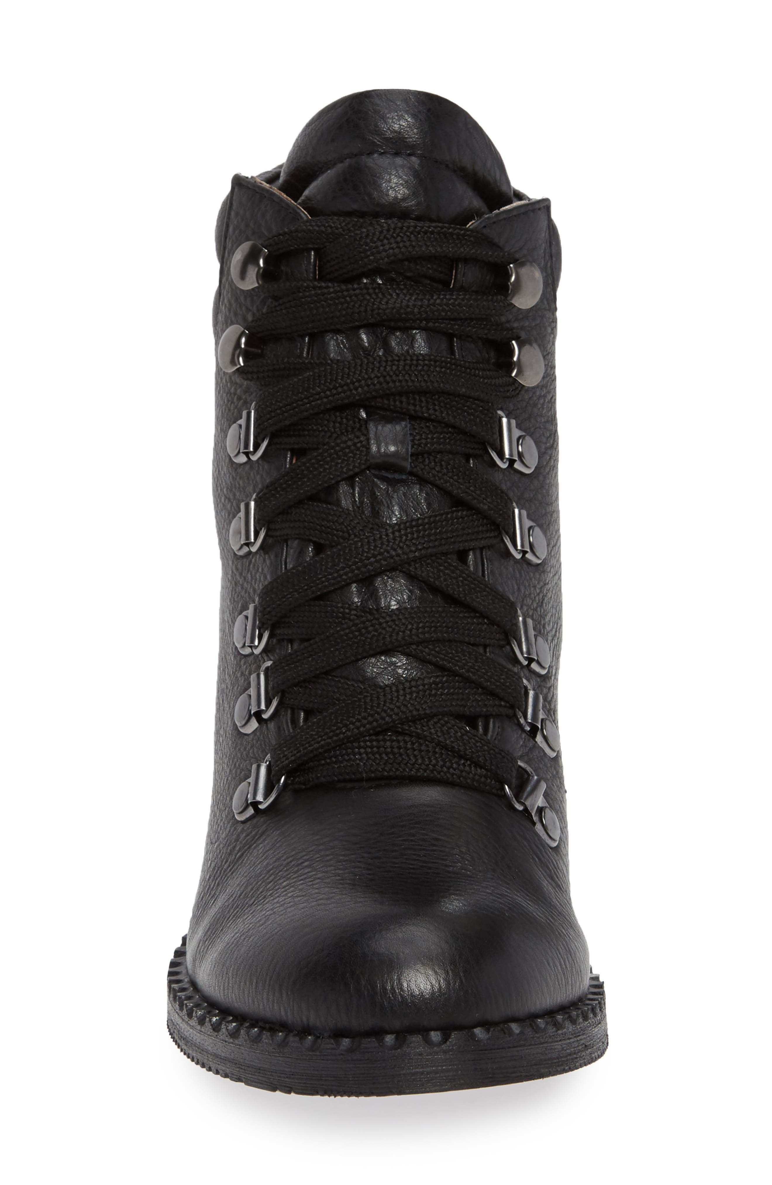 GENTLE SOULS BY KENNETH COLE, Brooklyn Combat Boot, Alternate thumbnail 4, color, BLACK LEATHER