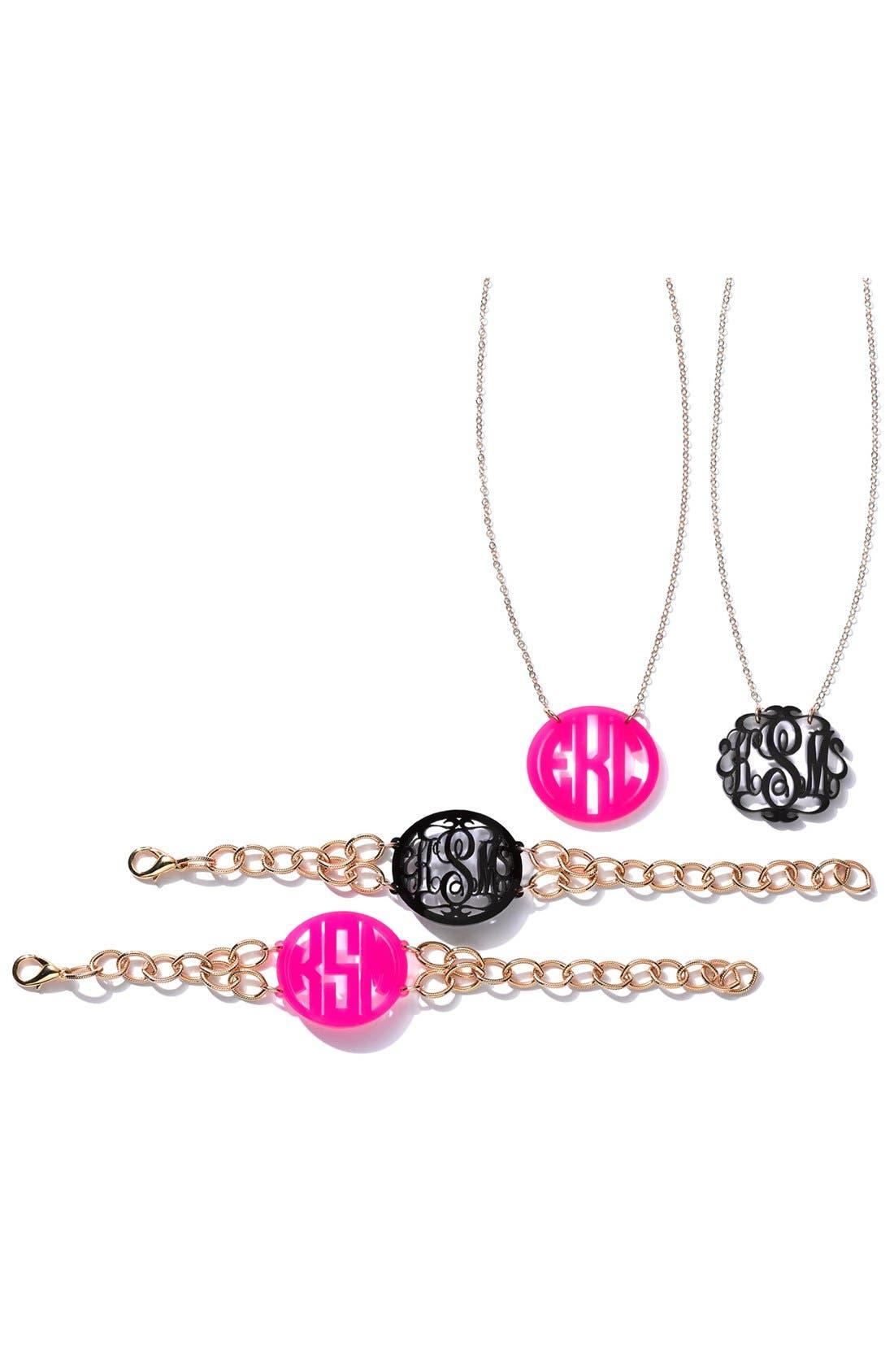 MOON AND LOLA, 'Annabel' Medium Oval Personalized Monogram Bracelet, Alternate thumbnail 2, color, EBONY/ GOLD