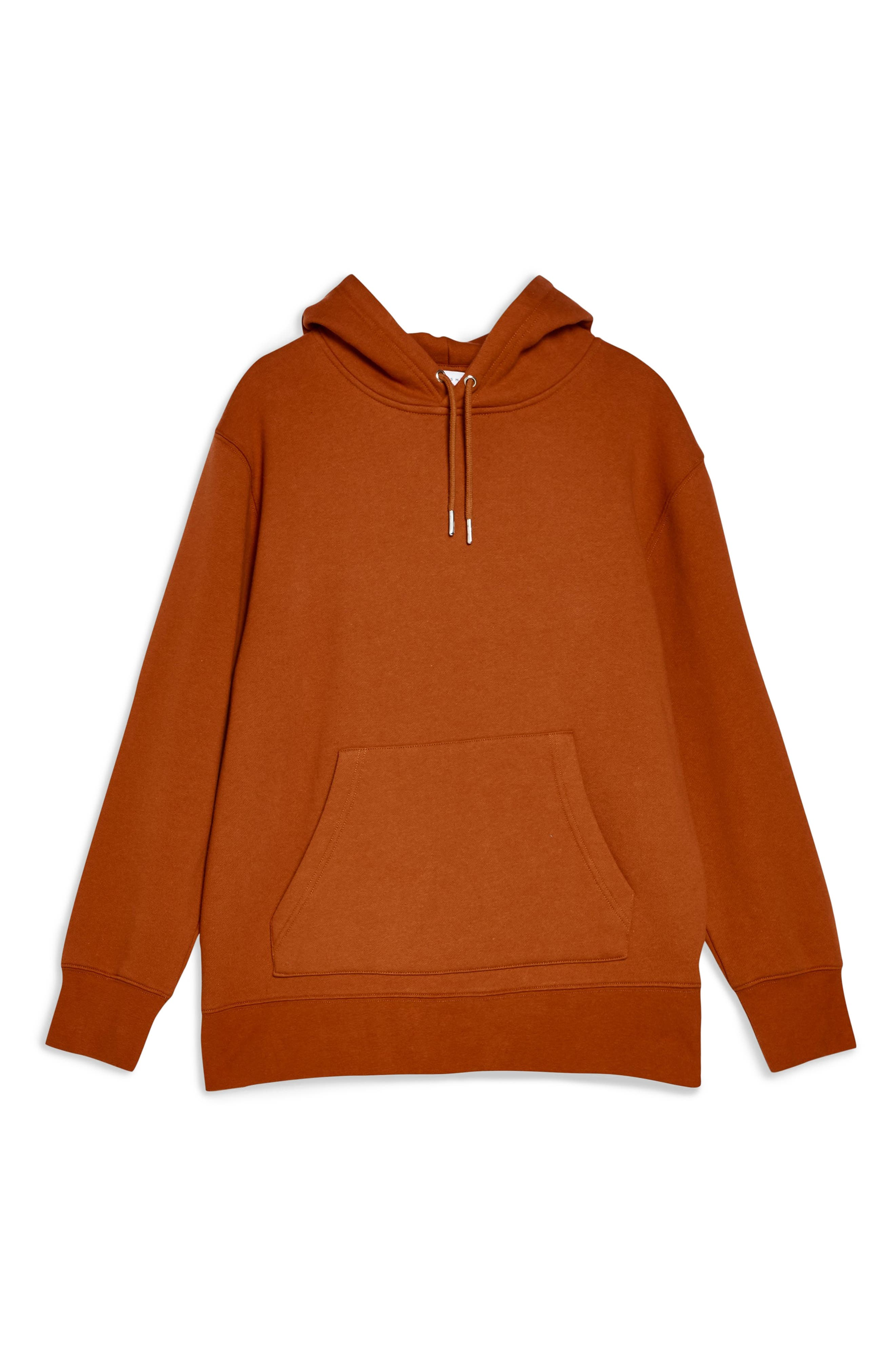 TOPSHOP, Relaxed Hooded Sweatshirt, Alternate thumbnail 4, color, RUST