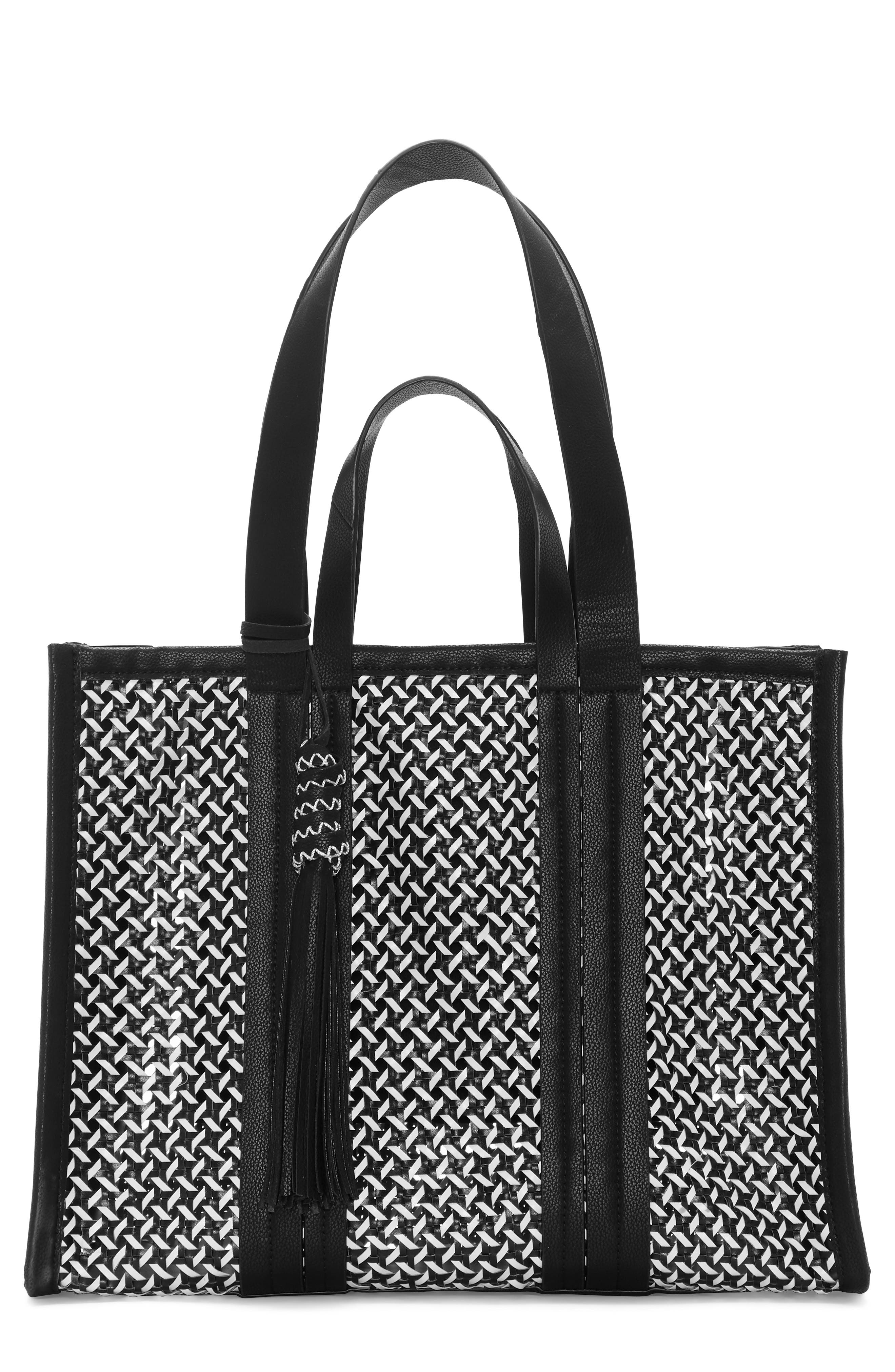 VINCE CAMUTO, Indra Woven Rattan & Leather Tote, Main thumbnail 1, color, 001