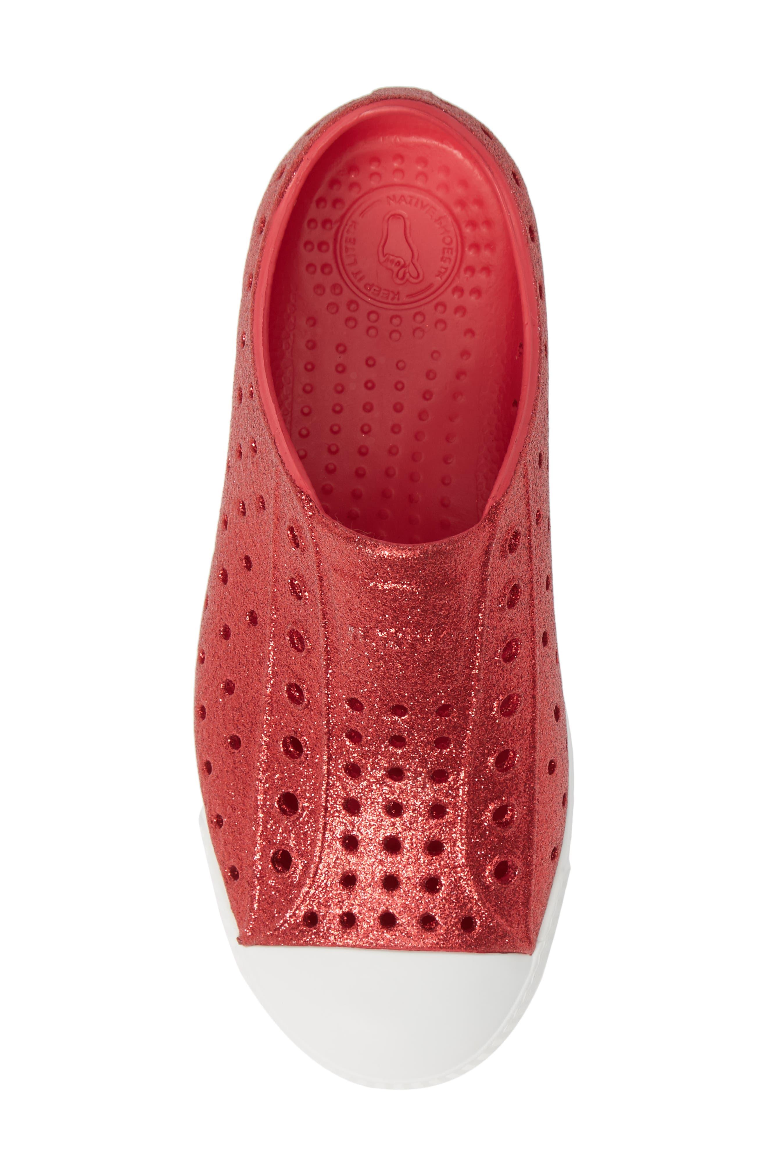 NATIVE SHOES, Jefferson Bling Glitter Slip-On Vegan Sneaker, Alternate thumbnail 5, color, SAKURA BLING/ SHELL WHITE