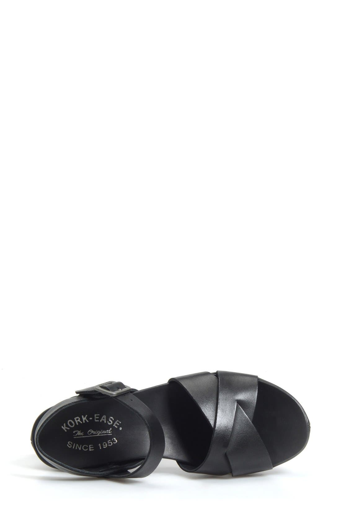 KORK-EASE<SUP>®</SUP>, 'Myrna 2.0' Cork Wedge Sandal, Alternate thumbnail 3, color, BLACK LEATHER