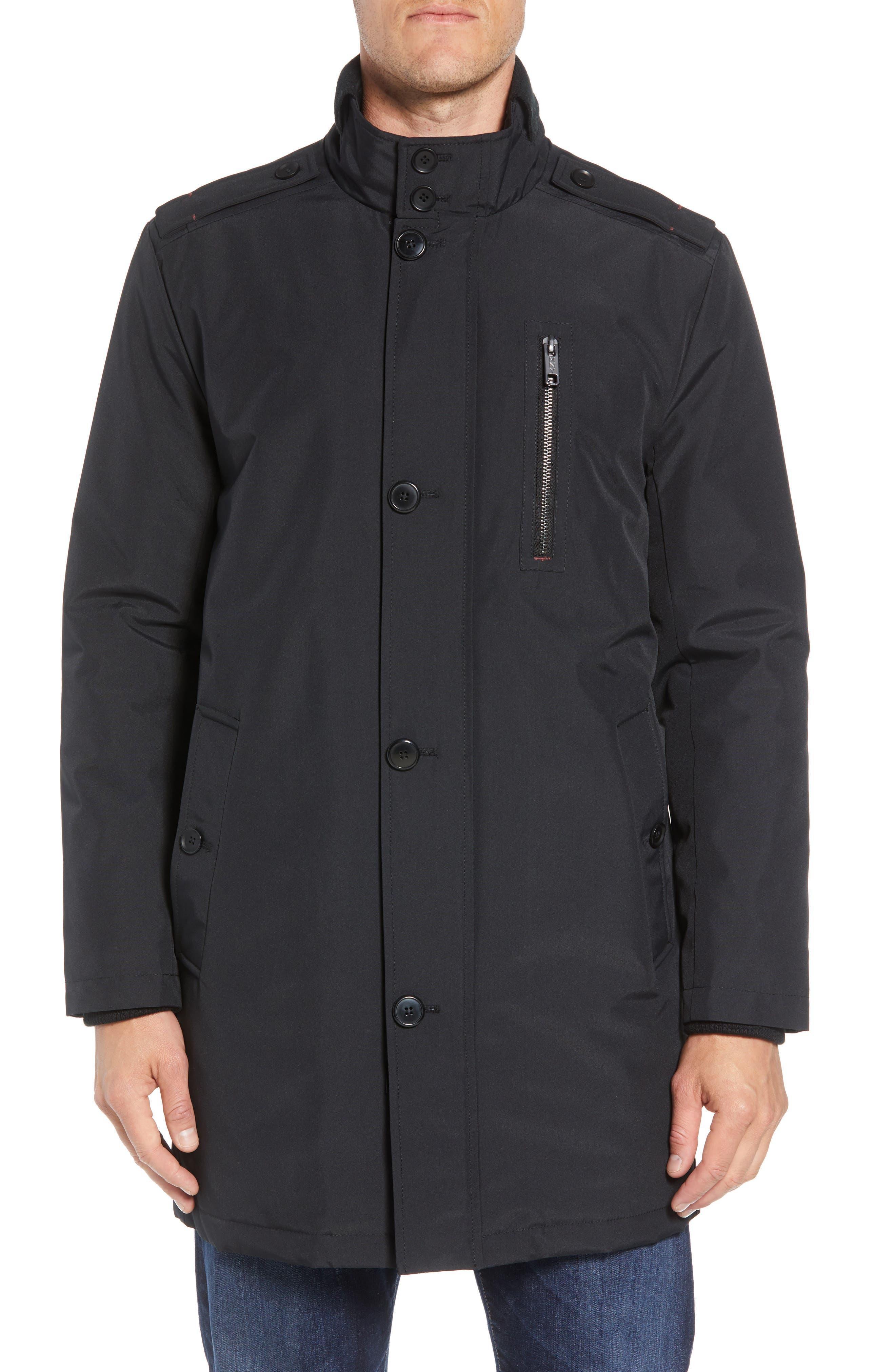 MARC NEW YORK, Cullen Oxford Car Coat, Alternate thumbnail 4, color, BLACK