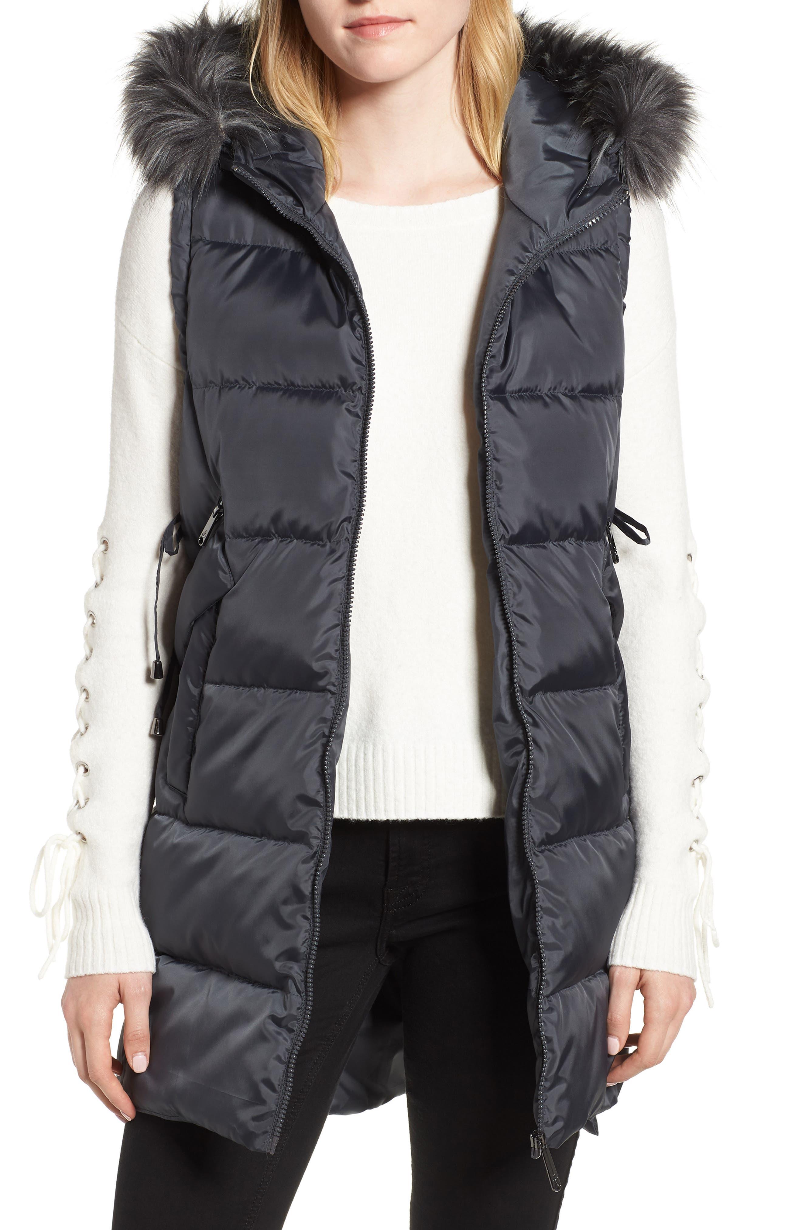 SAM EDELMAN, Faux Fur Trim Hooded Side-Tie Vest, Main thumbnail 1, color, 036