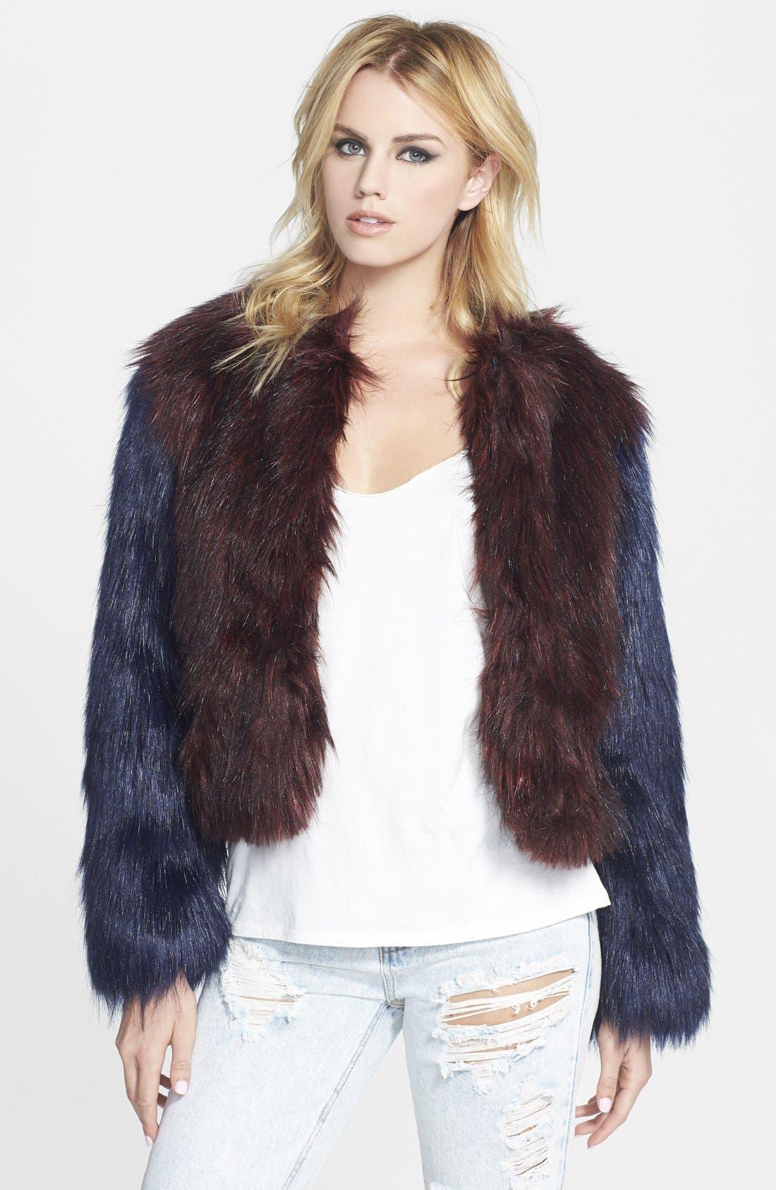 GLAMOROUS, Two Tone Faux Fur Jacket, Main thumbnail 1, color, 930