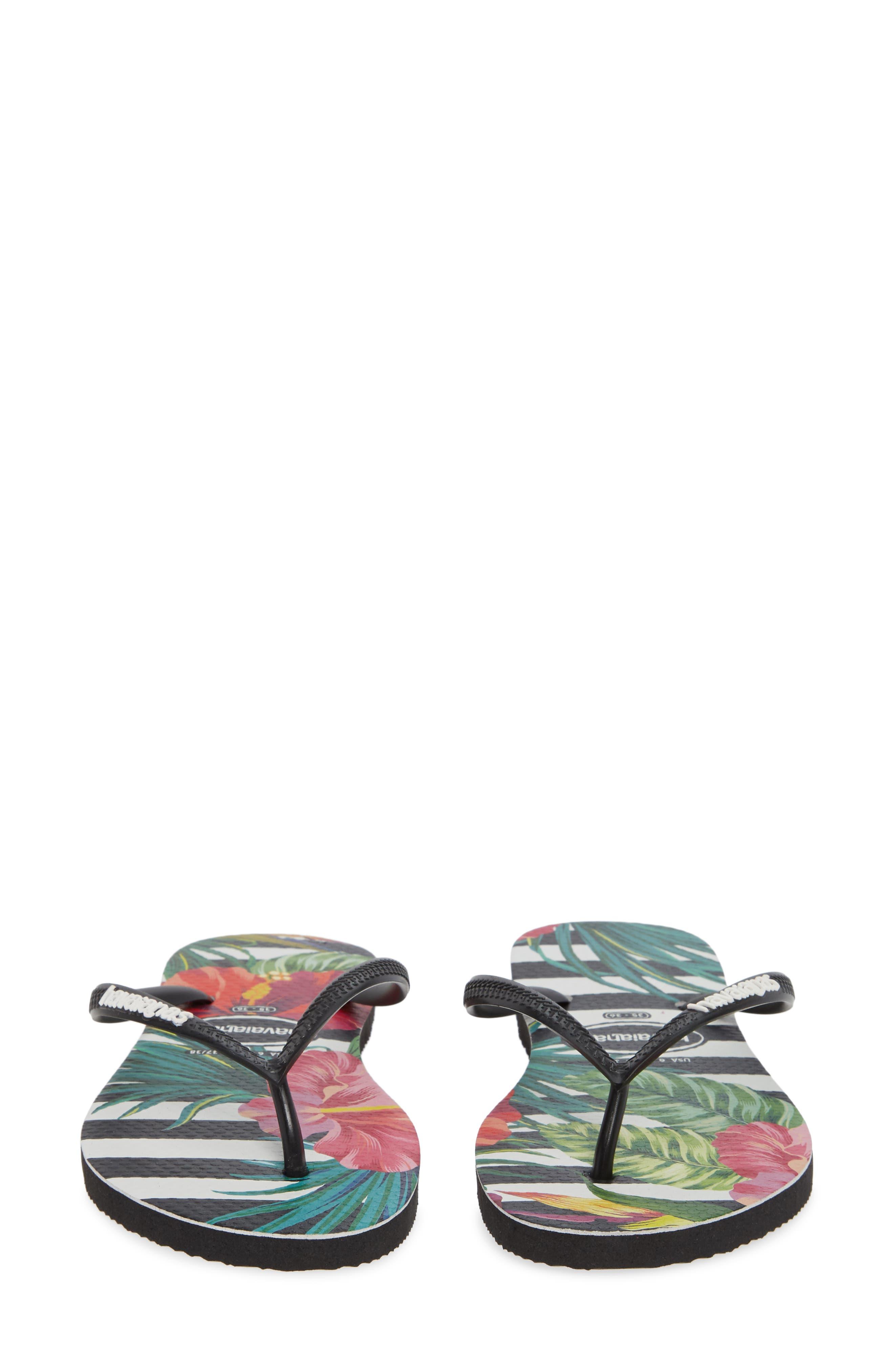 HAVAIANAS, Slim Tropical Floral Flip Flop, Alternate thumbnail 5, color, BLACK/ WHITE