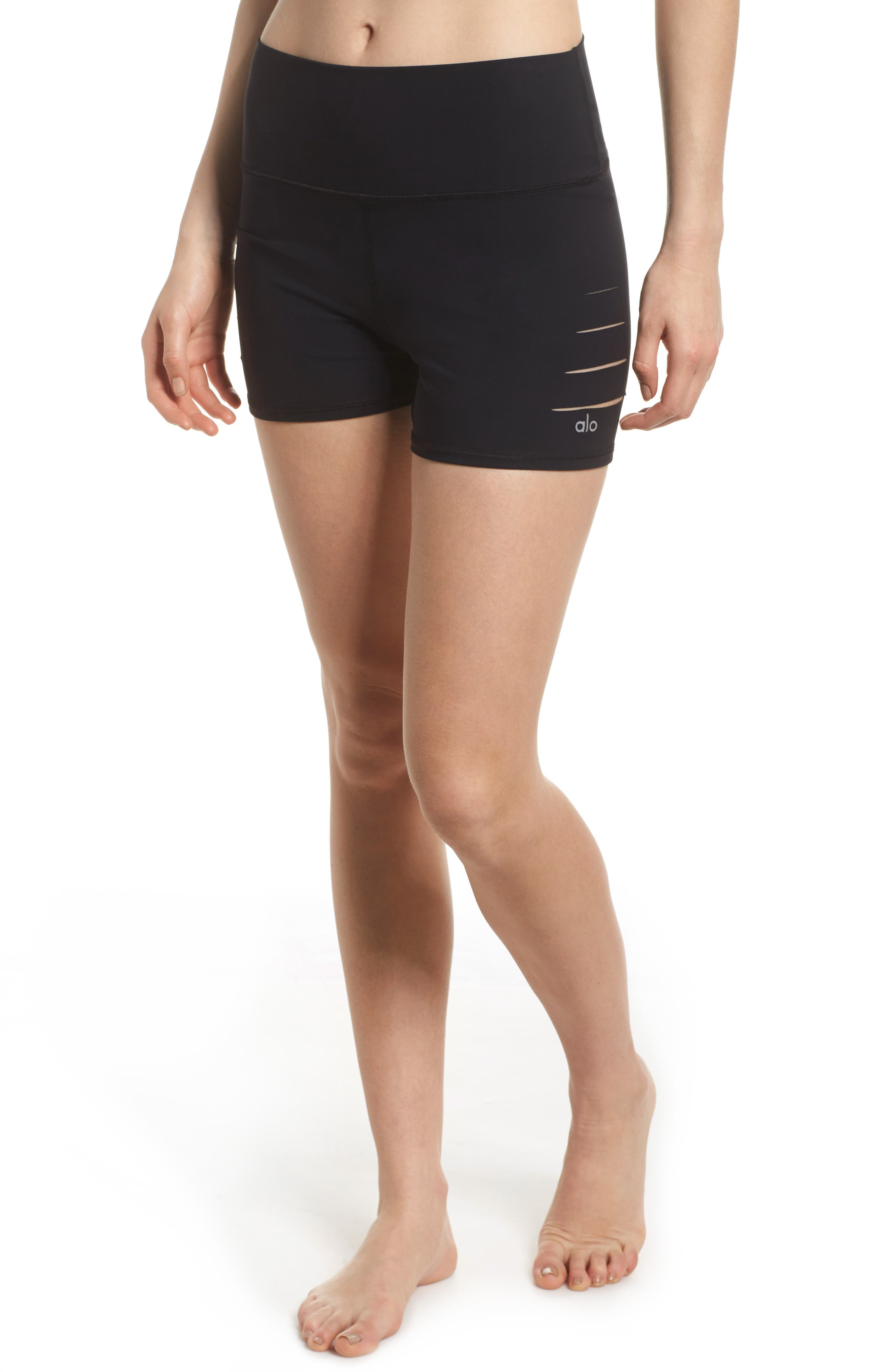 ALO Ripped High Waist Shorts, Main, color, BLACK
